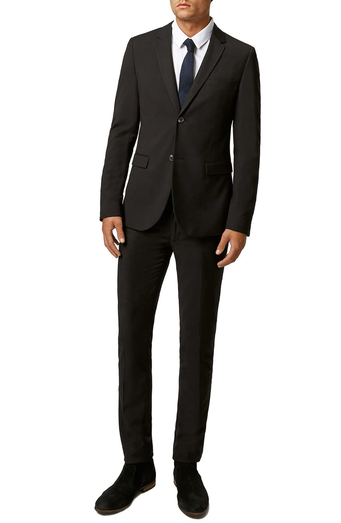 Ultra Skinny Black Suit Jacket,                             Alternate thumbnail 8, color,                             BLACK