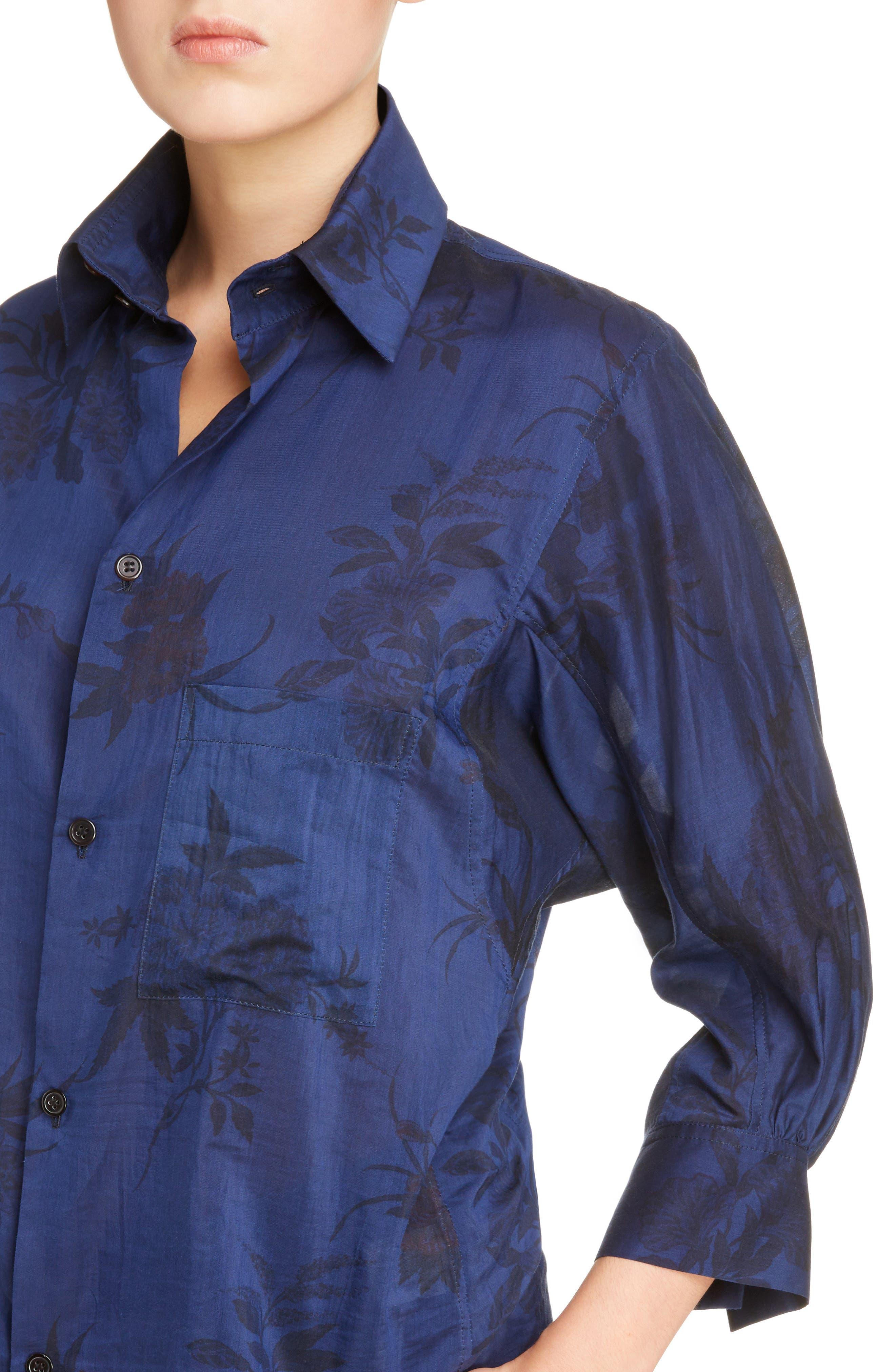 Floral Print Shirt,                             Alternate thumbnail 4, color,                             400