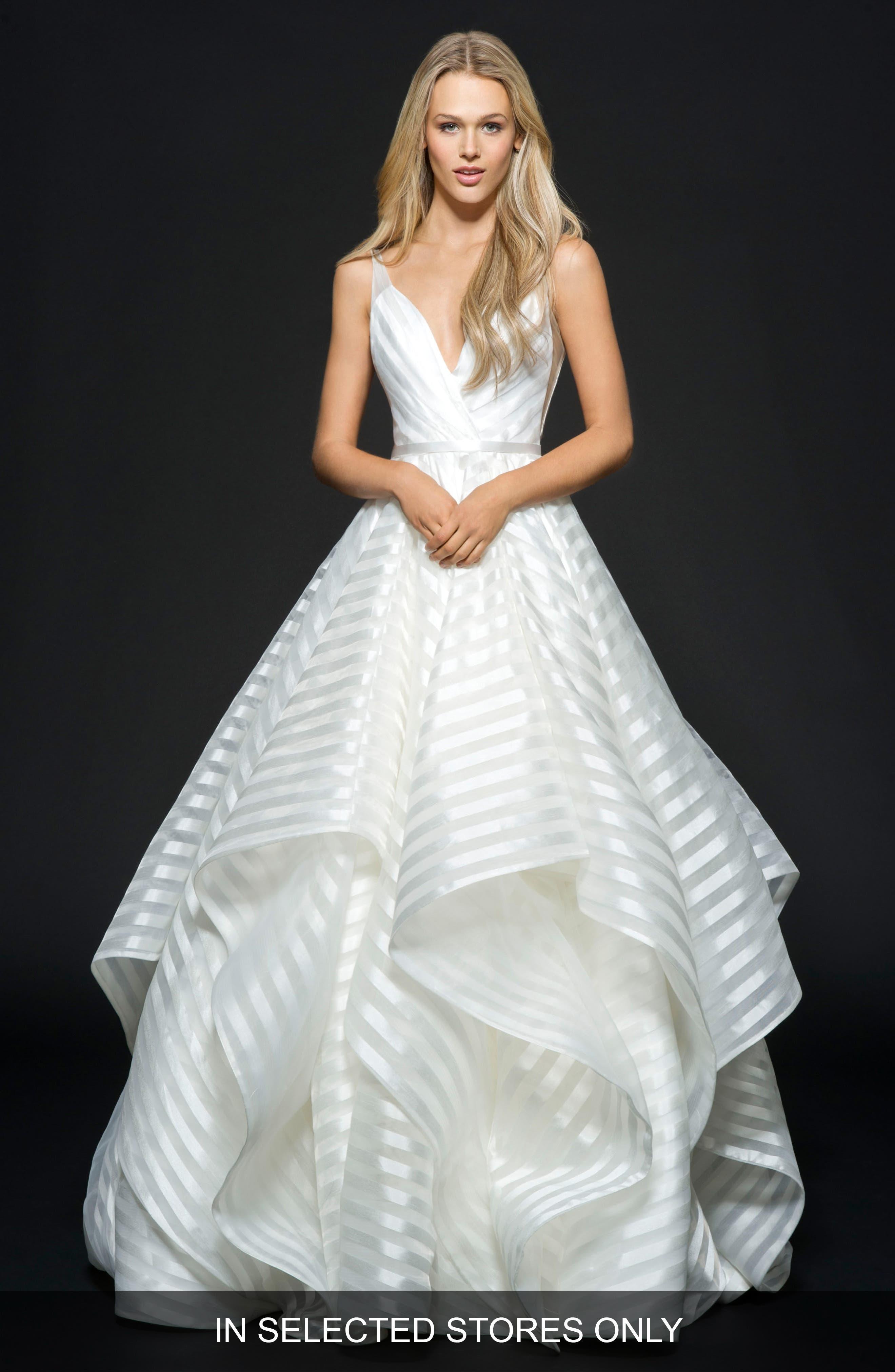 Hayley Paige Decklyn Stripe Organza Ballgown, Size IN STORE ONLY - Ivory