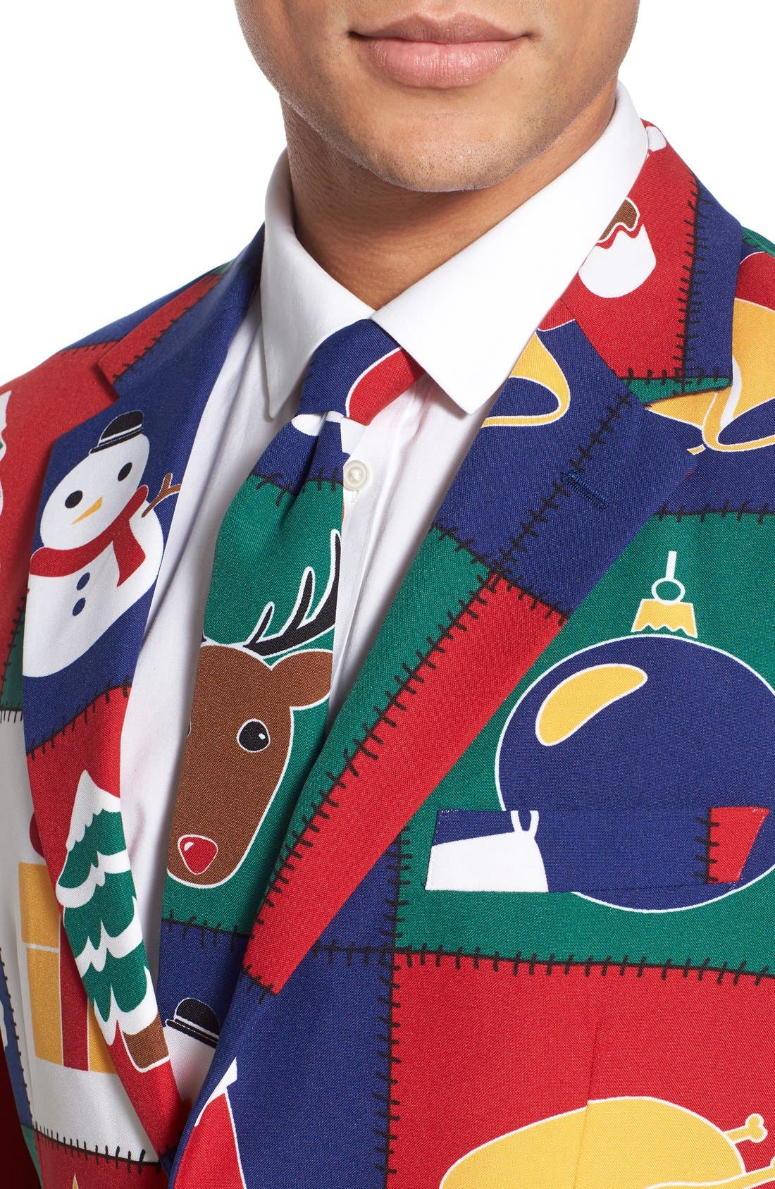 'Quilty Pleasure' Holiday Suit & Tie,                             Alternate thumbnail 3, color,                             300