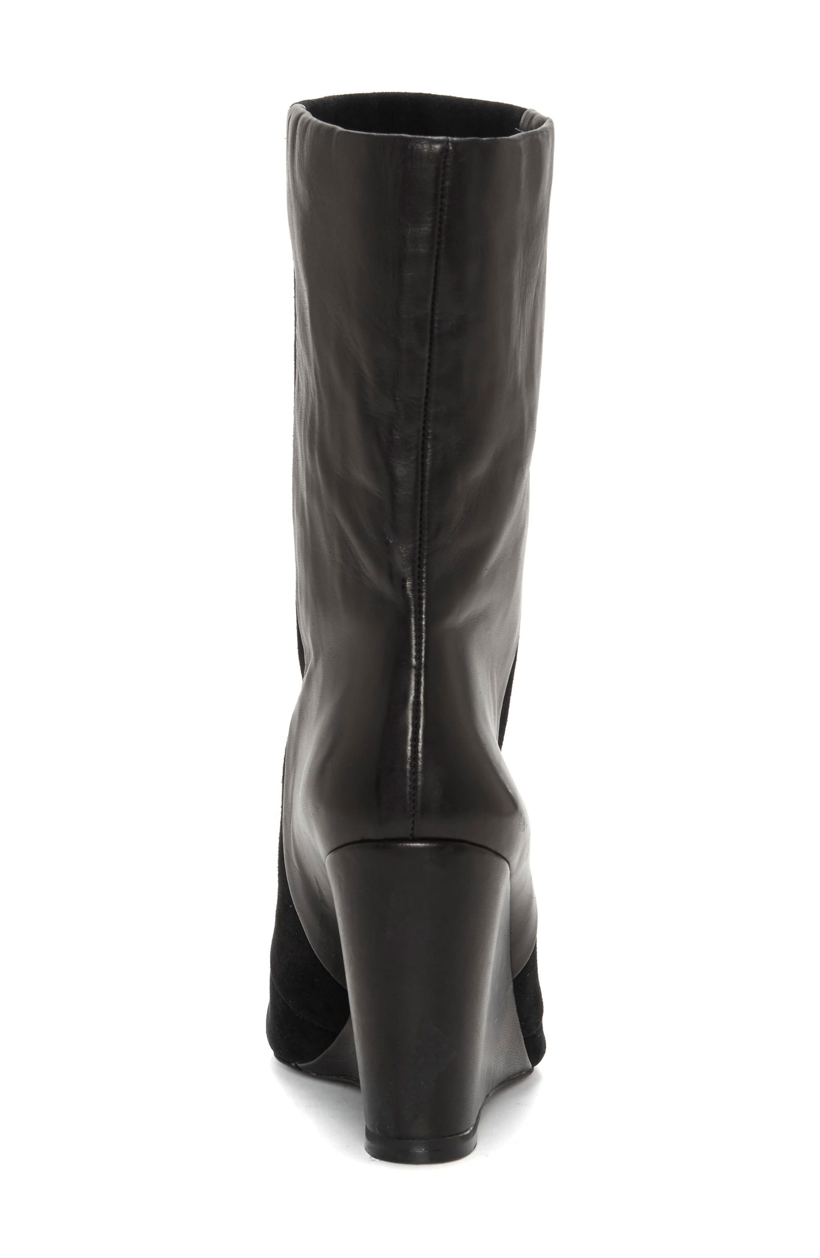 Zalena Wedge Boot,                             Alternate thumbnail 5, color,                             BLACK SUEDE