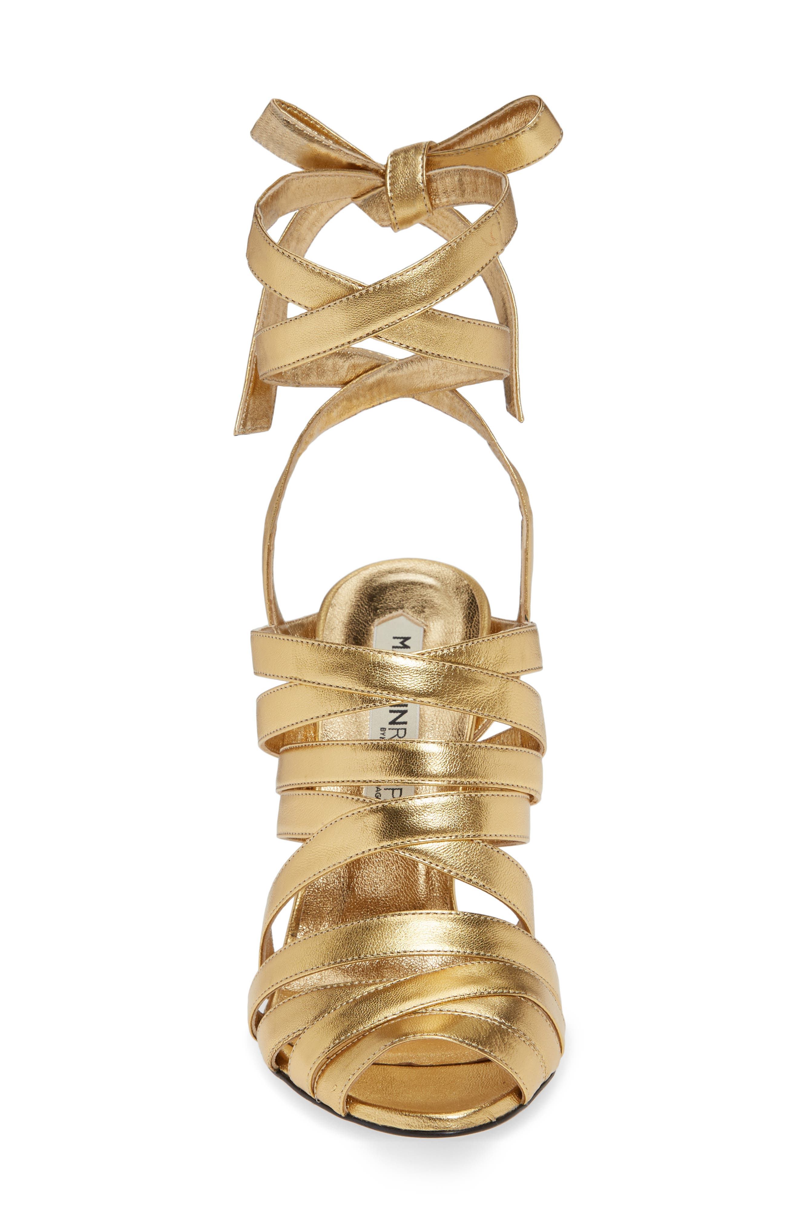Nadege Strappy Pump,                             Alternate thumbnail 4, color,                             GOLD LEATHER