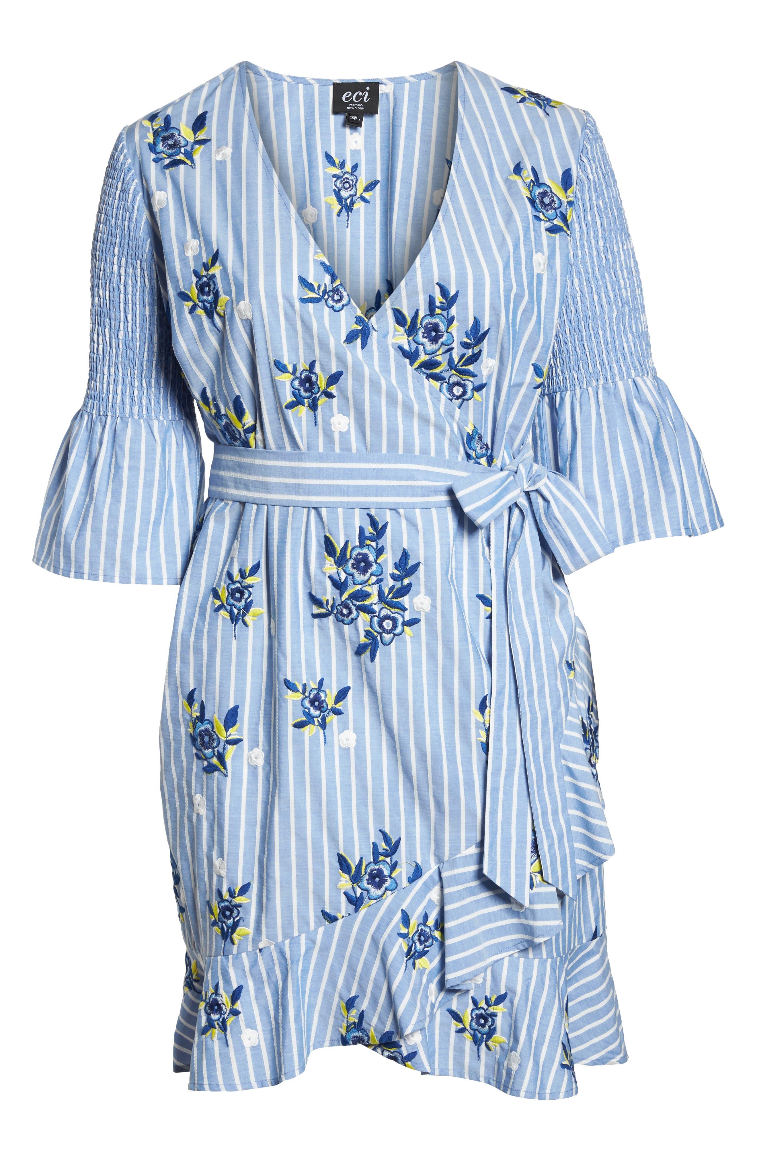Embroidered Stripe Wrap Dress,                             Alternate thumbnail 7, color,                             BLUE/ WHITE