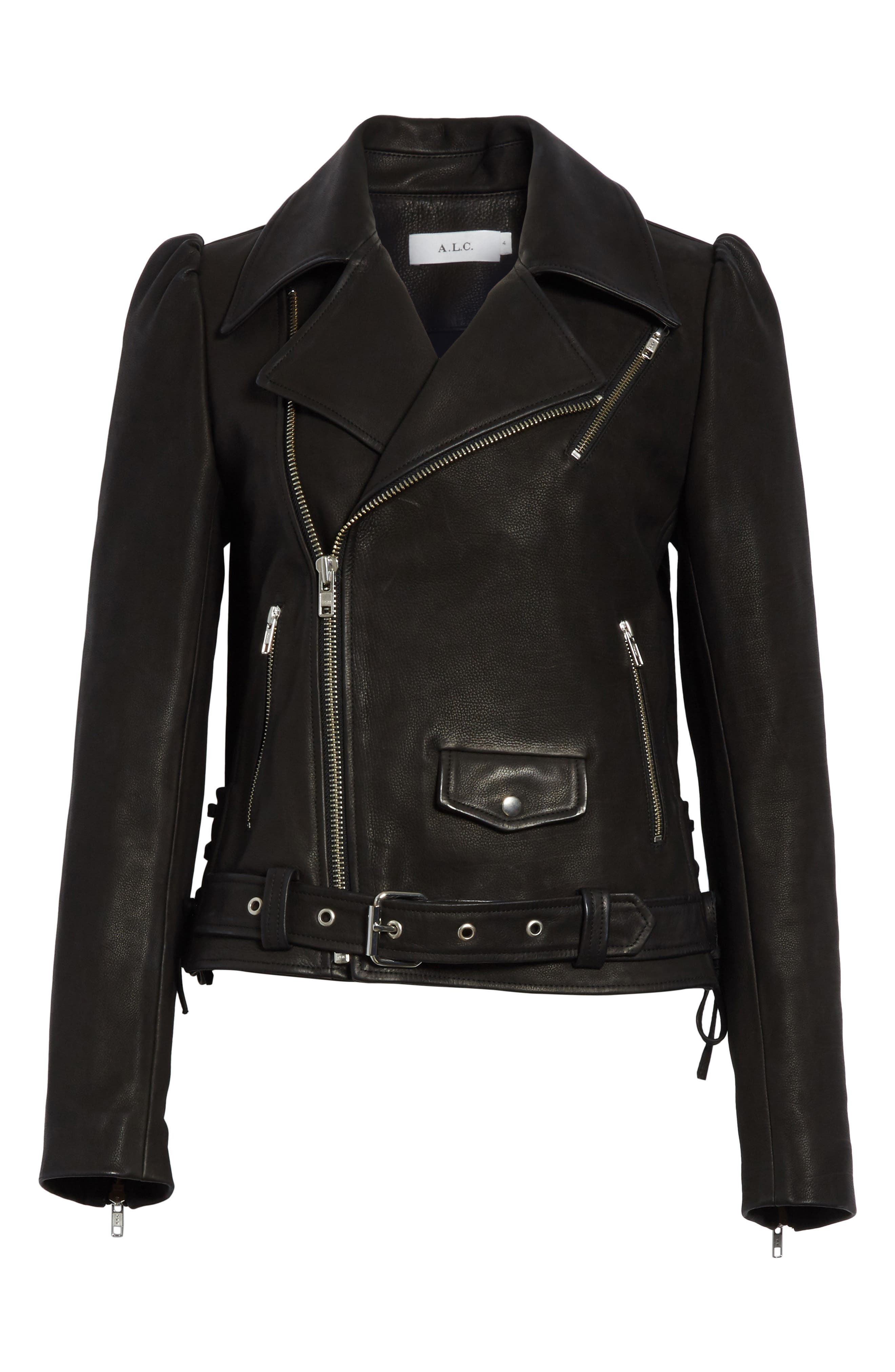 Calix Puff Shoulder Leather Moto Jacket,                             Alternate thumbnail 5, color,                             001