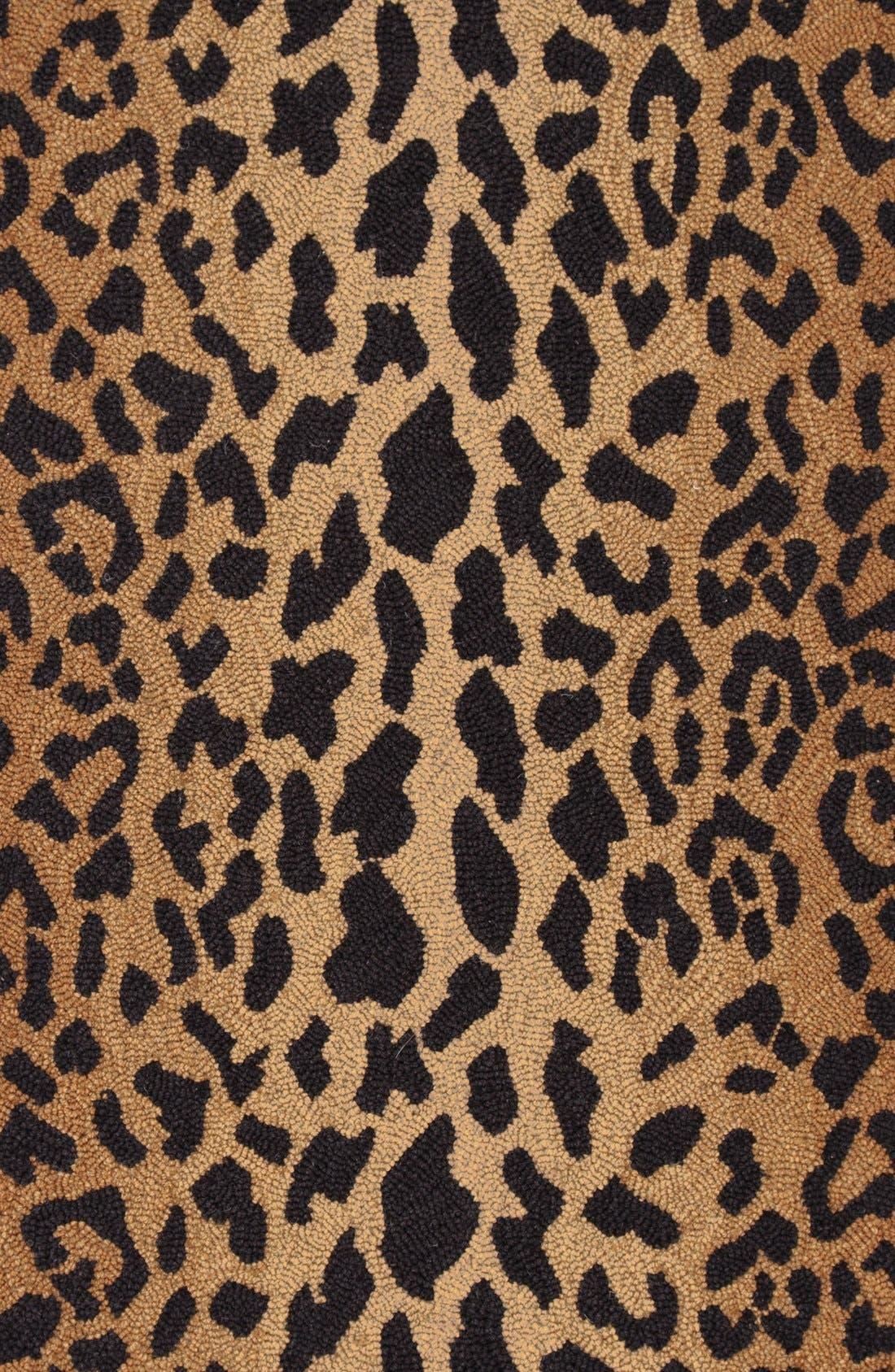 Leopard Print Wool Rug,                             Alternate thumbnail 2, color,                             BROWN