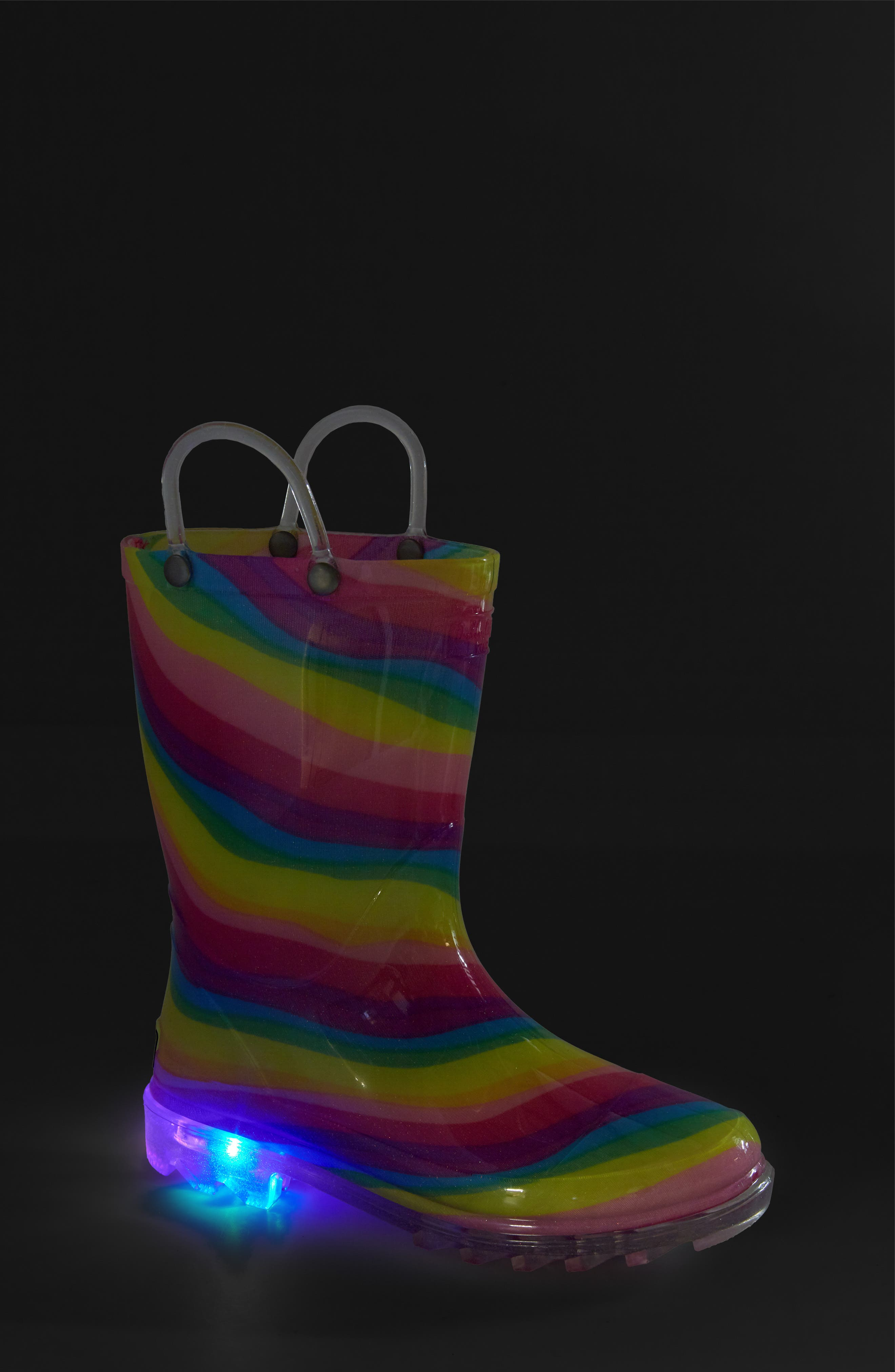 Rainbow Light-Up Waterproof Rain Boot,                             Alternate thumbnail 7, color,                             MULTI