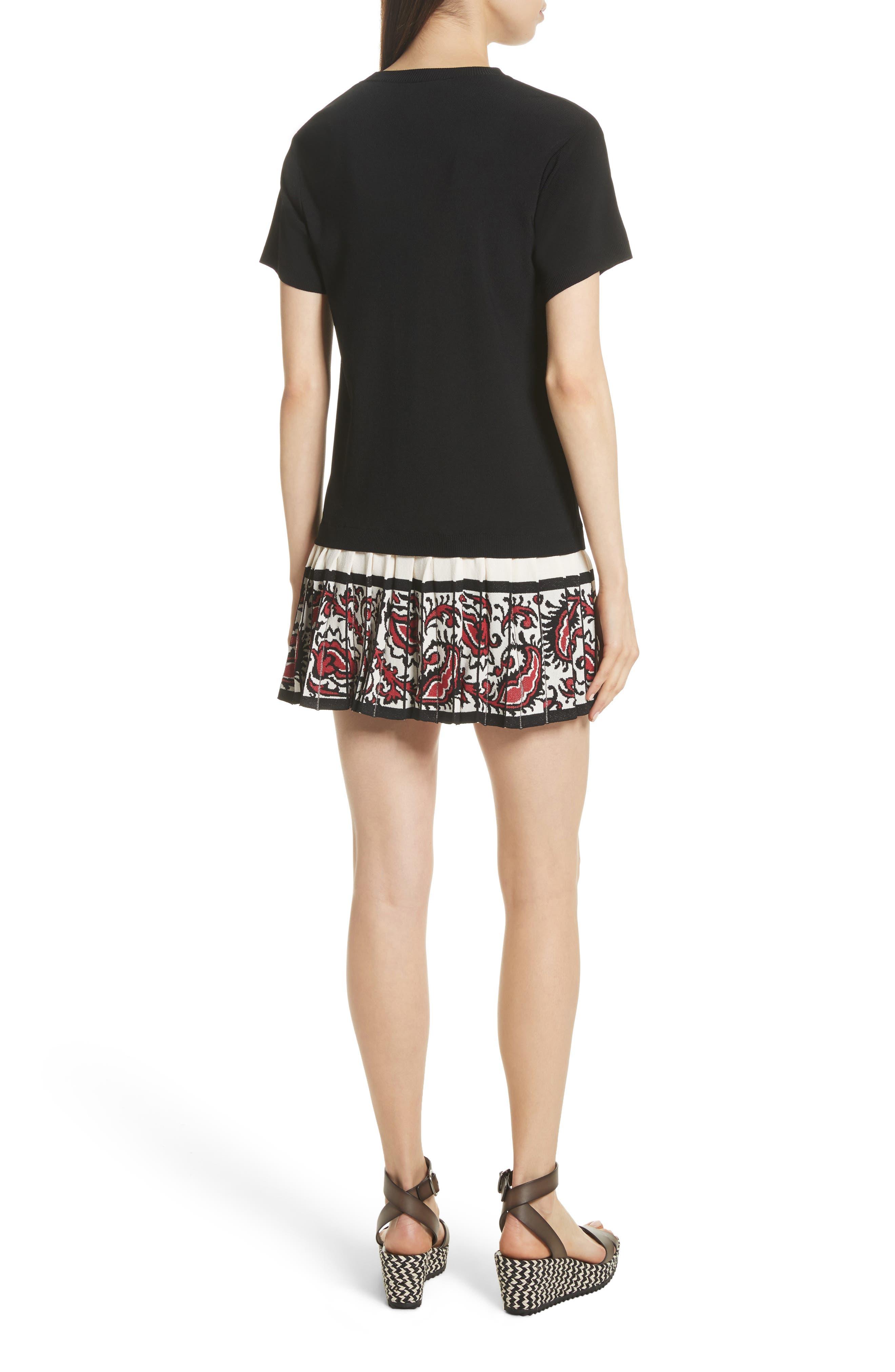 Pleated Hem T-Shirt Dress,                             Alternate thumbnail 2, color,                             001
