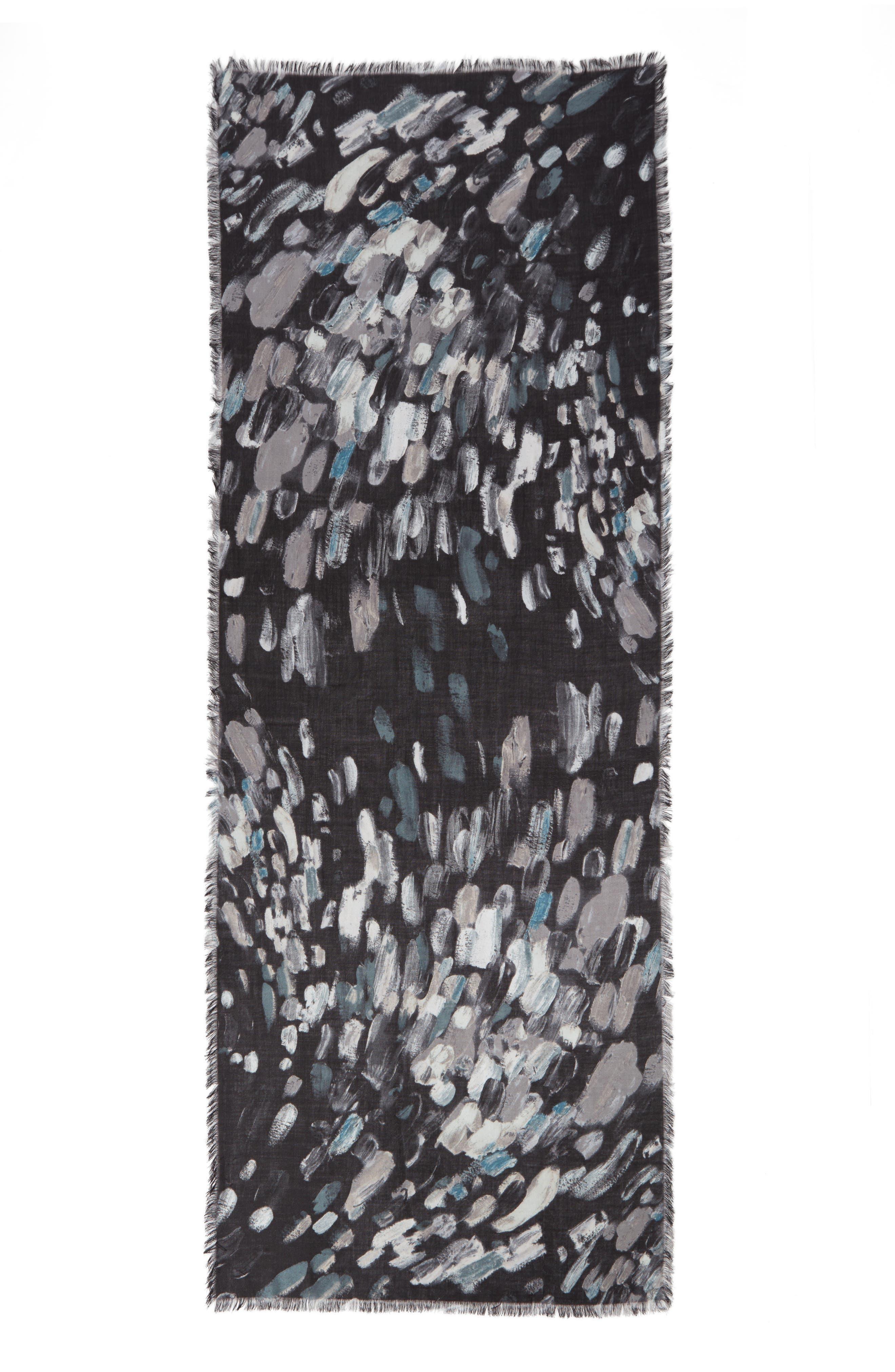 Impressionist Dots Cashmere & Silk Scarf,                             Alternate thumbnail 3, color,                             001
