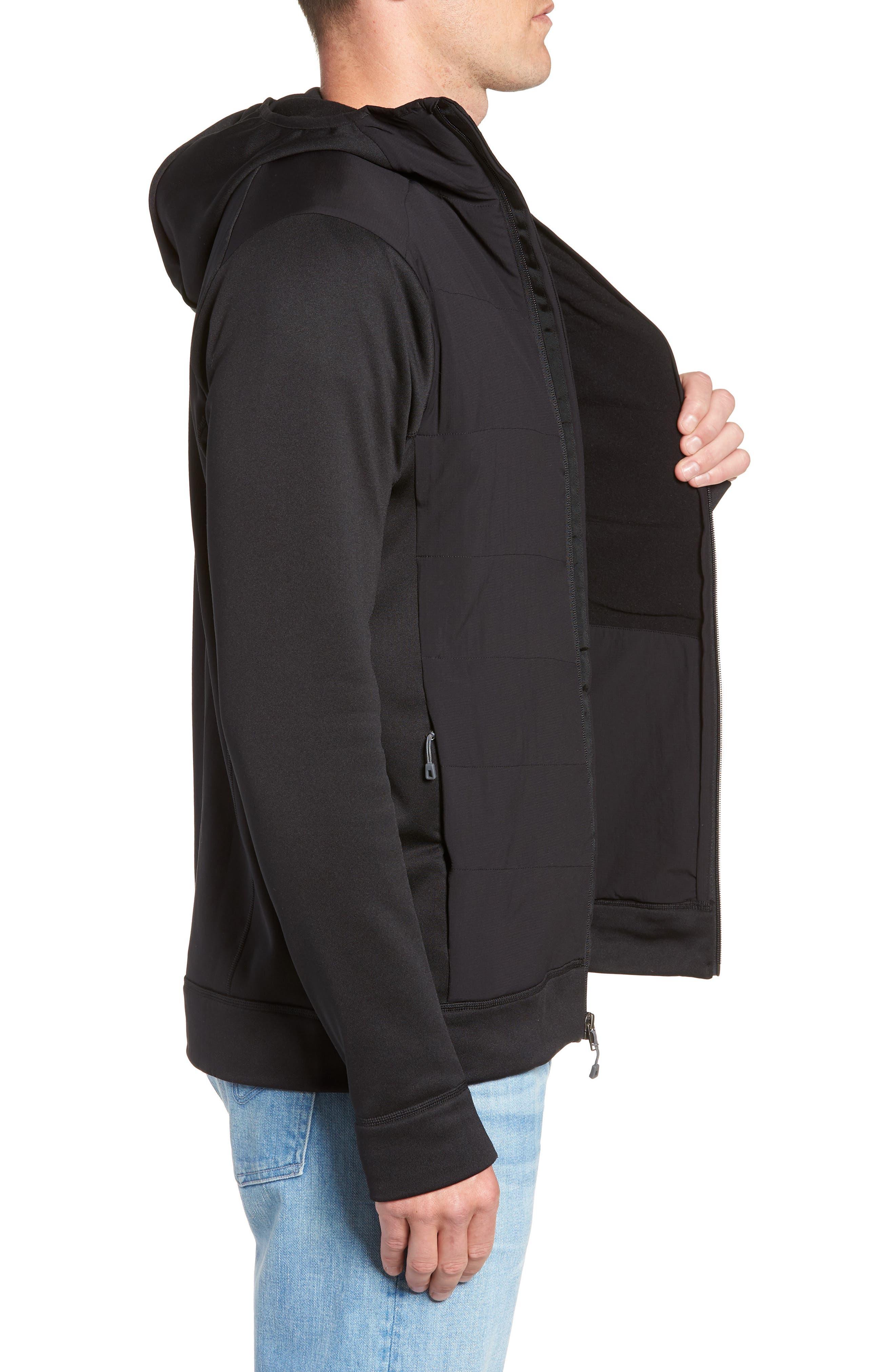 Crosstek Hybrid Hooded Jacket,                             Alternate thumbnail 3, color,                             BLACK