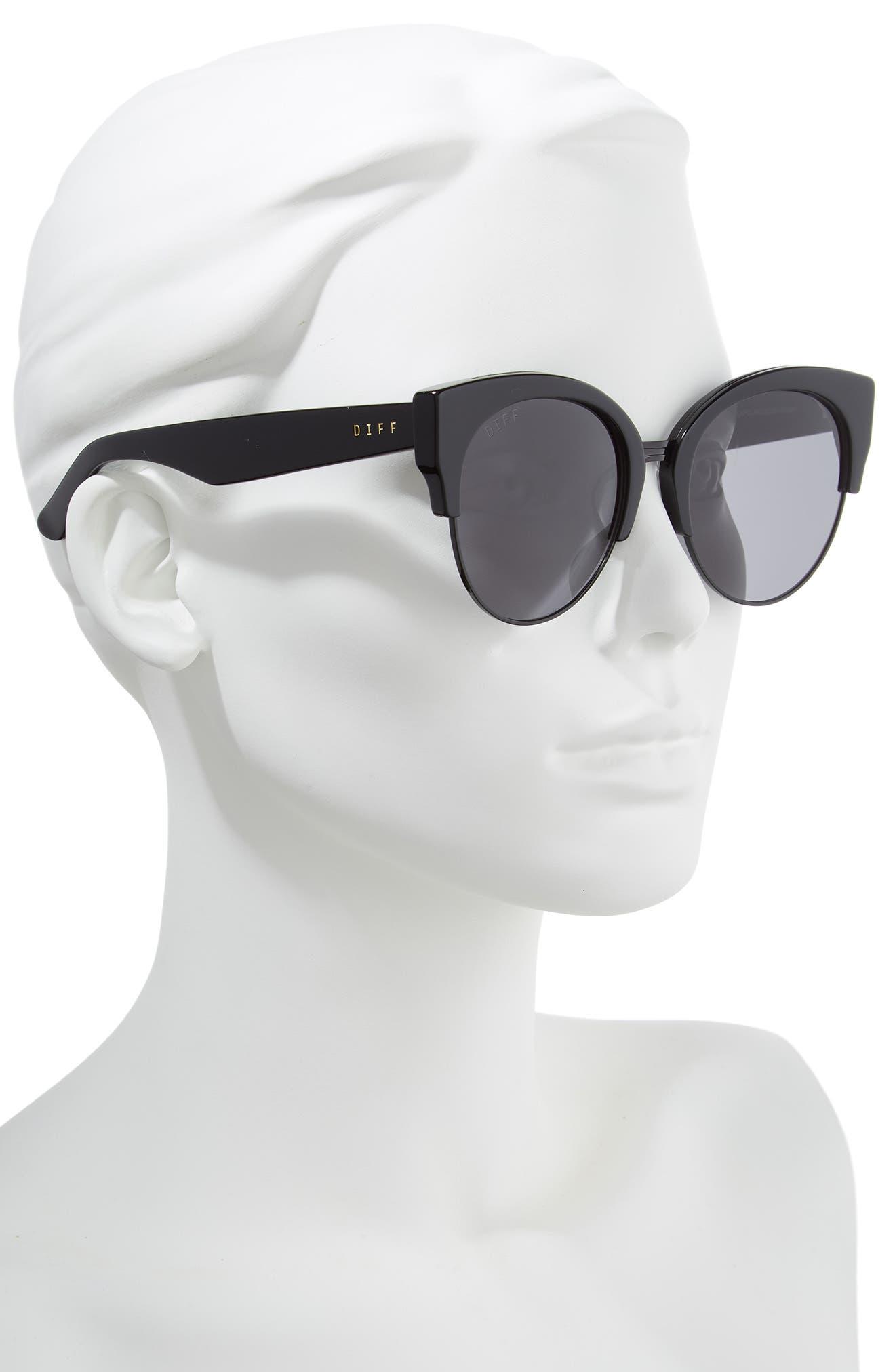 Stella 55mm Polarized Cat Eye Sunglasses,                             Alternate thumbnail 2, color,                             BLACK/ GREY