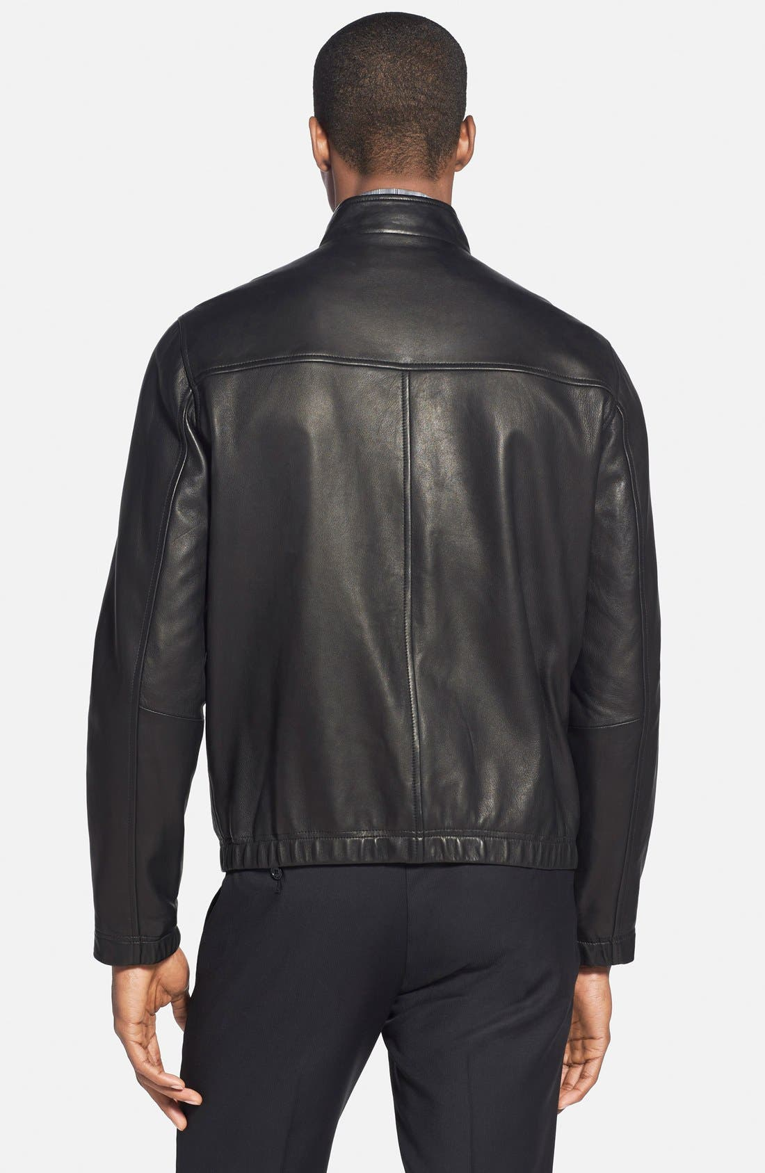 'Morvek L.Kelleher' Sheepskin Leather Jacket,                             Alternate thumbnail 2, color,                             BLACK