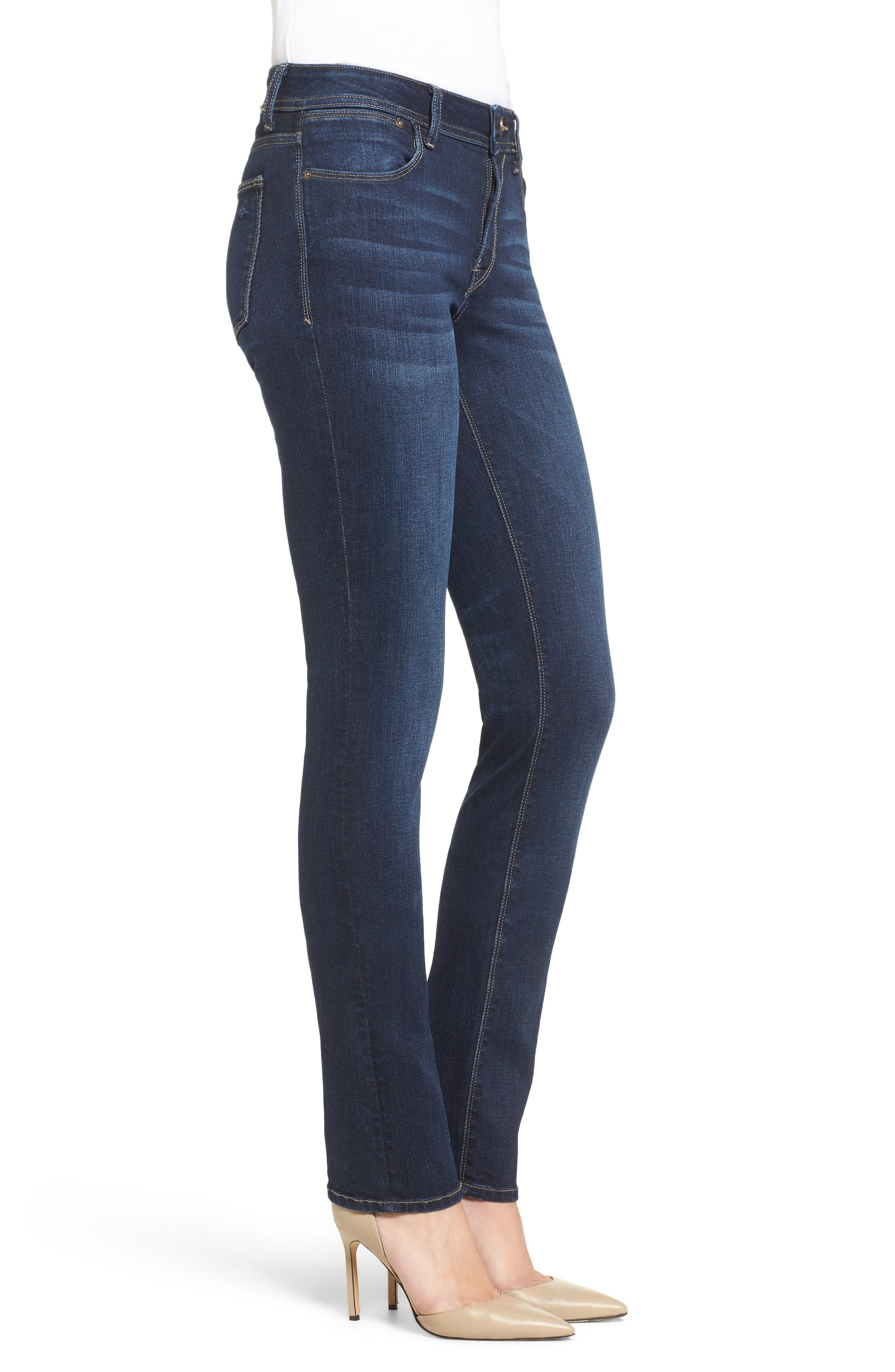 'Coco' Curvy Slim Straight Leg Jeans,                             Alternate thumbnail 4, color,