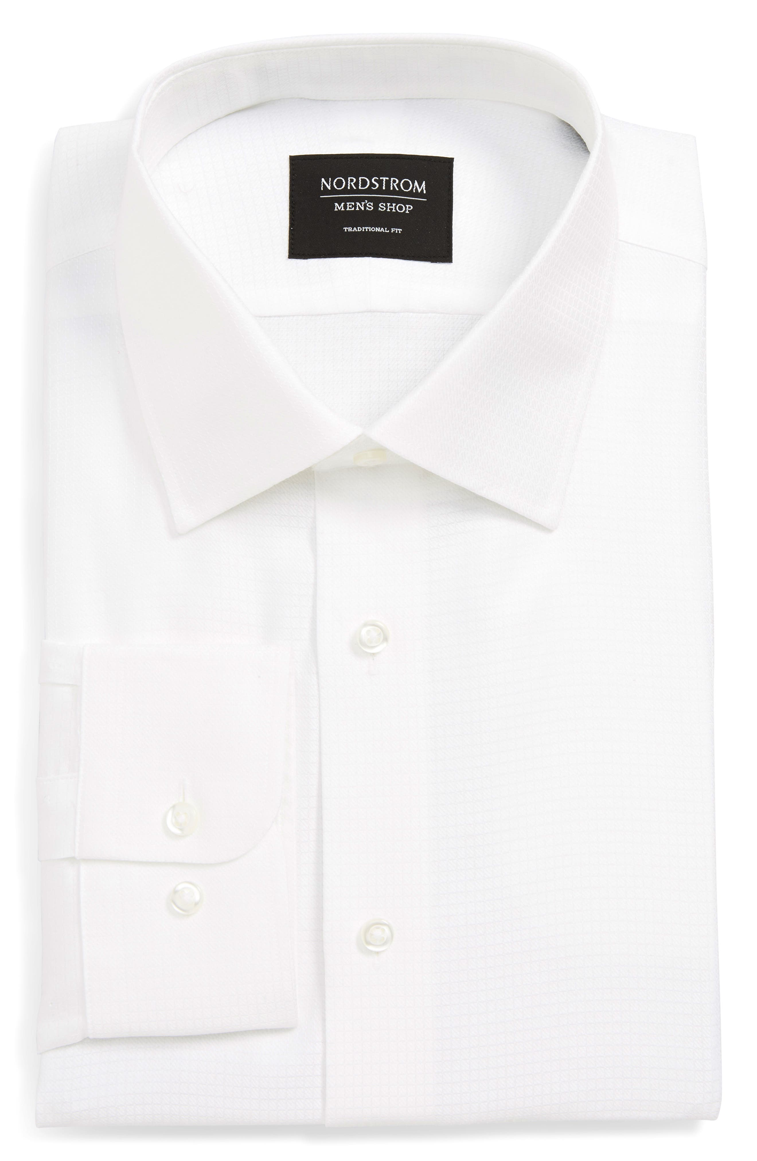 Traditional Fit Check Dress Shirt,                         Main,                         color, WHITE
