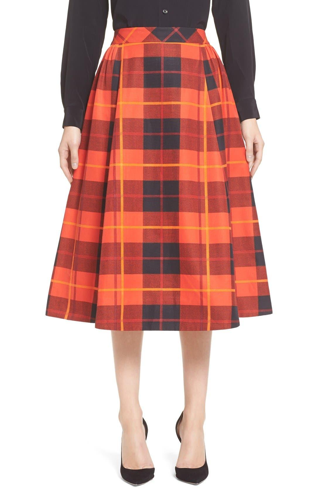 KATE SPADE NEW YORK,                             katespade new yorkwoodland plaid midi skirt,                             Main thumbnail 1, color,                             601