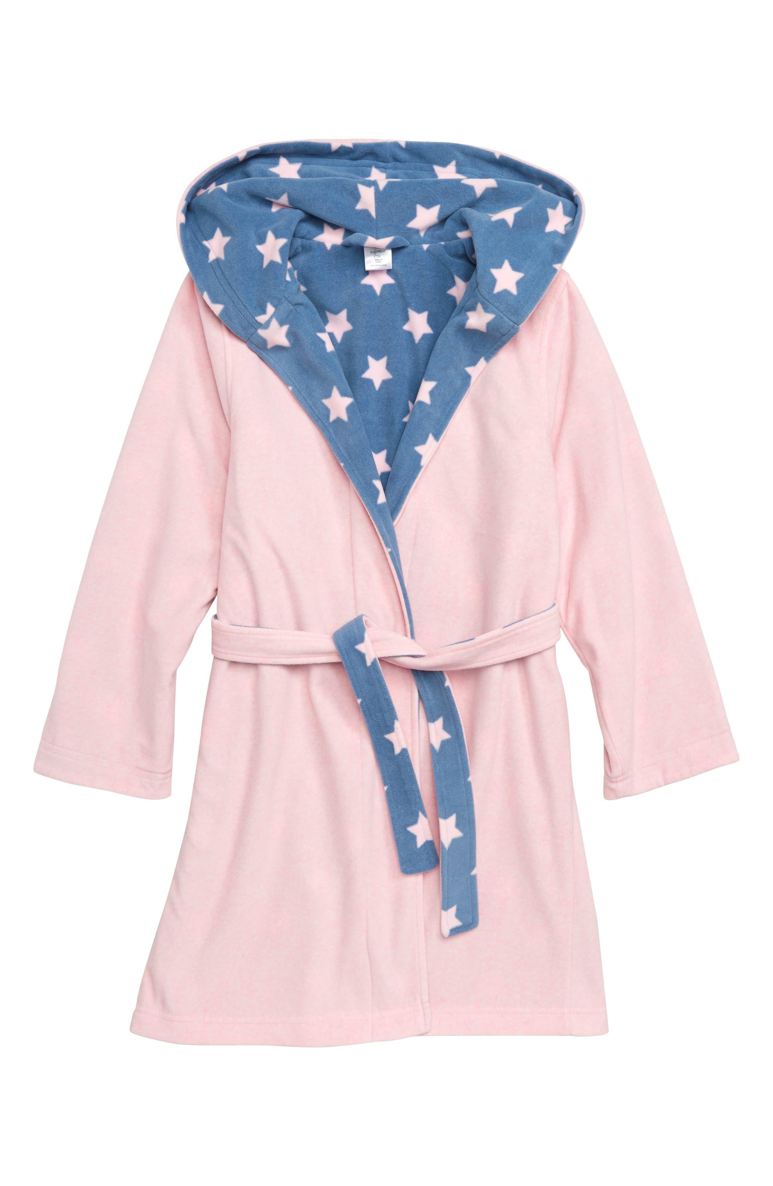 Reversible Fleece Robe,                             Main thumbnail 1, color,                             PINK BABY HEATHER STARS