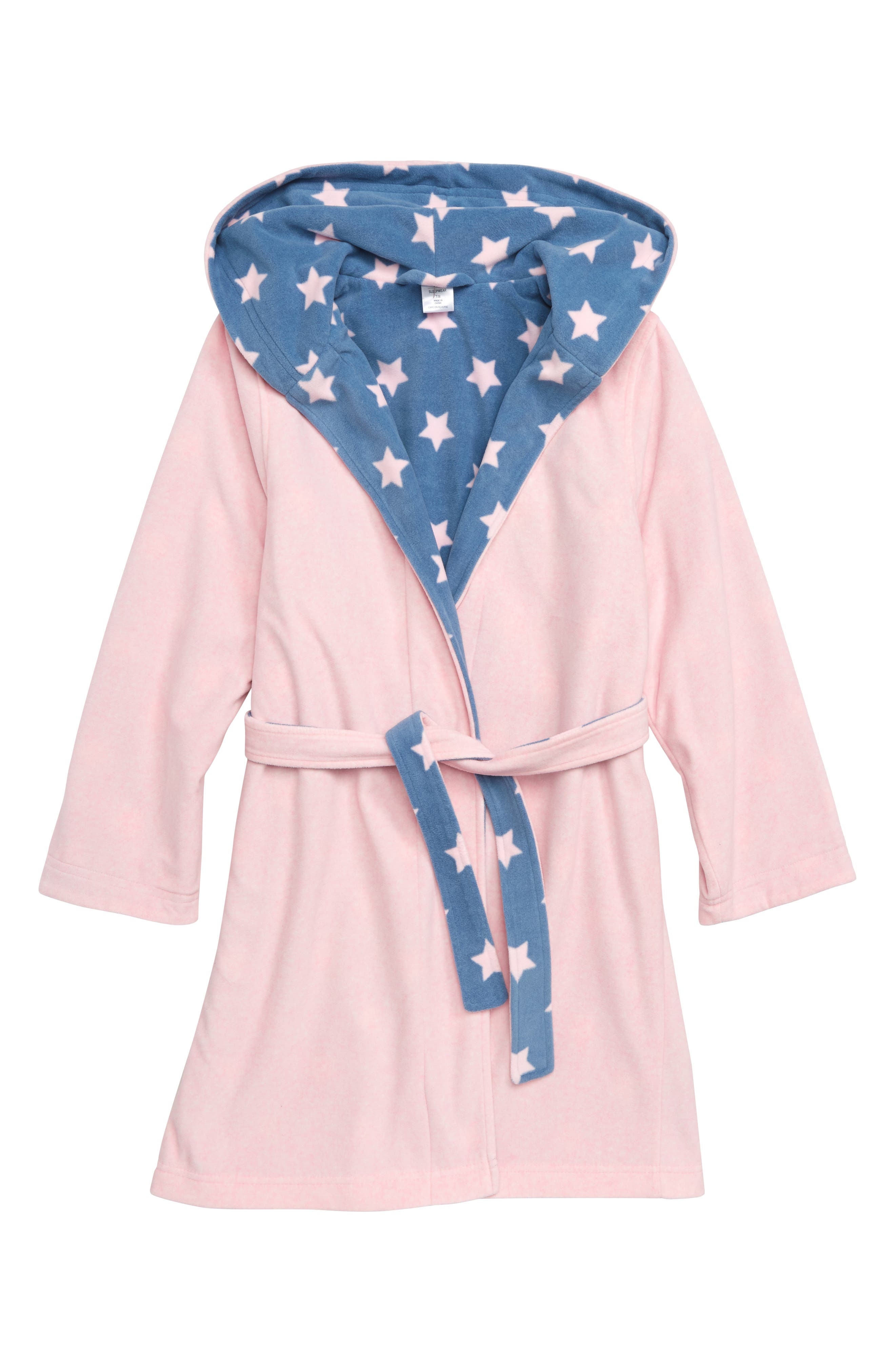 Reversible Fleece Robe,                         Main,                         color, PINK BABY HEATHER STARS