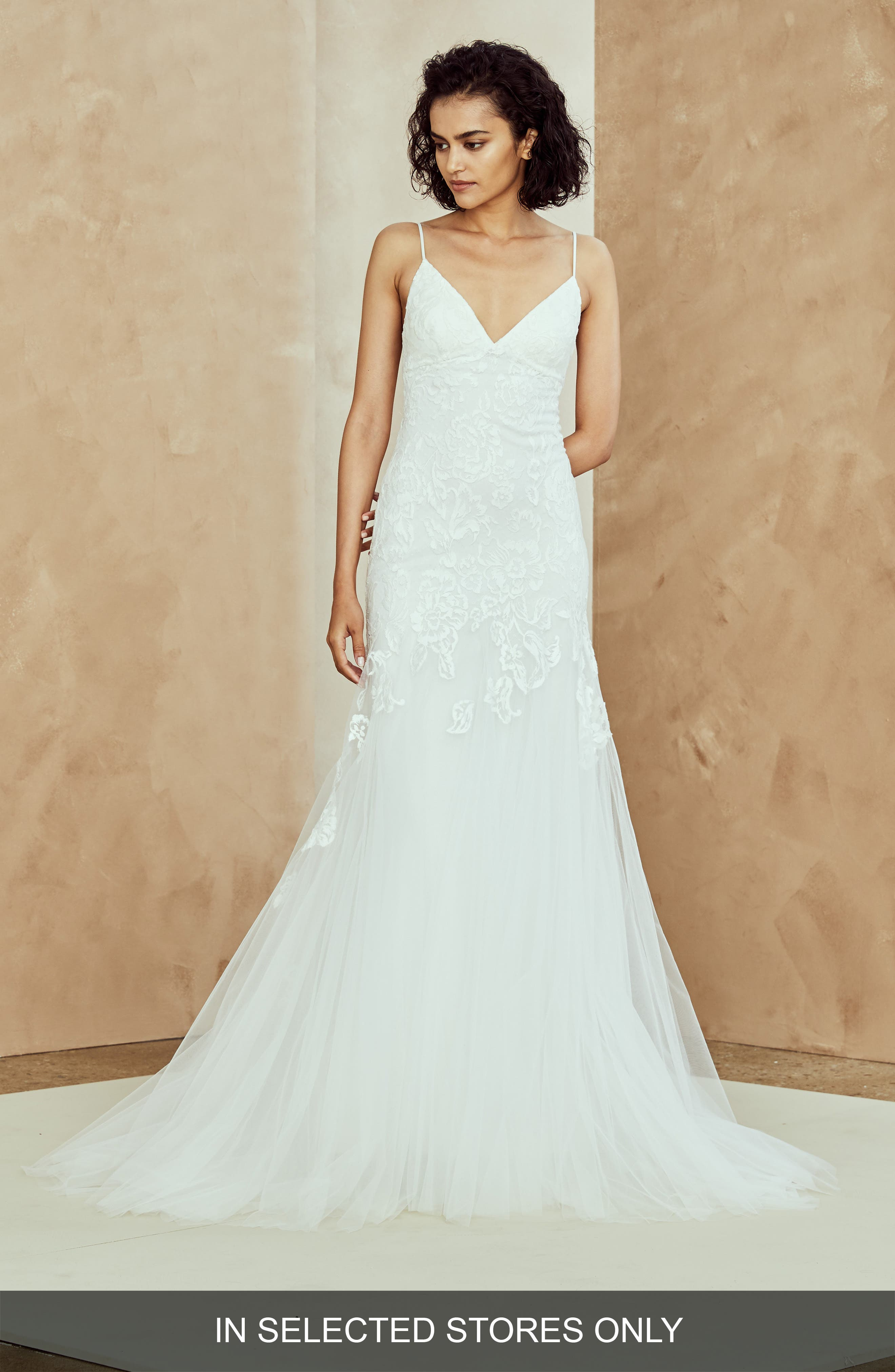 Abbey Embroidered Tulle Trumpet Gown,                         Main,                         color, IVORY