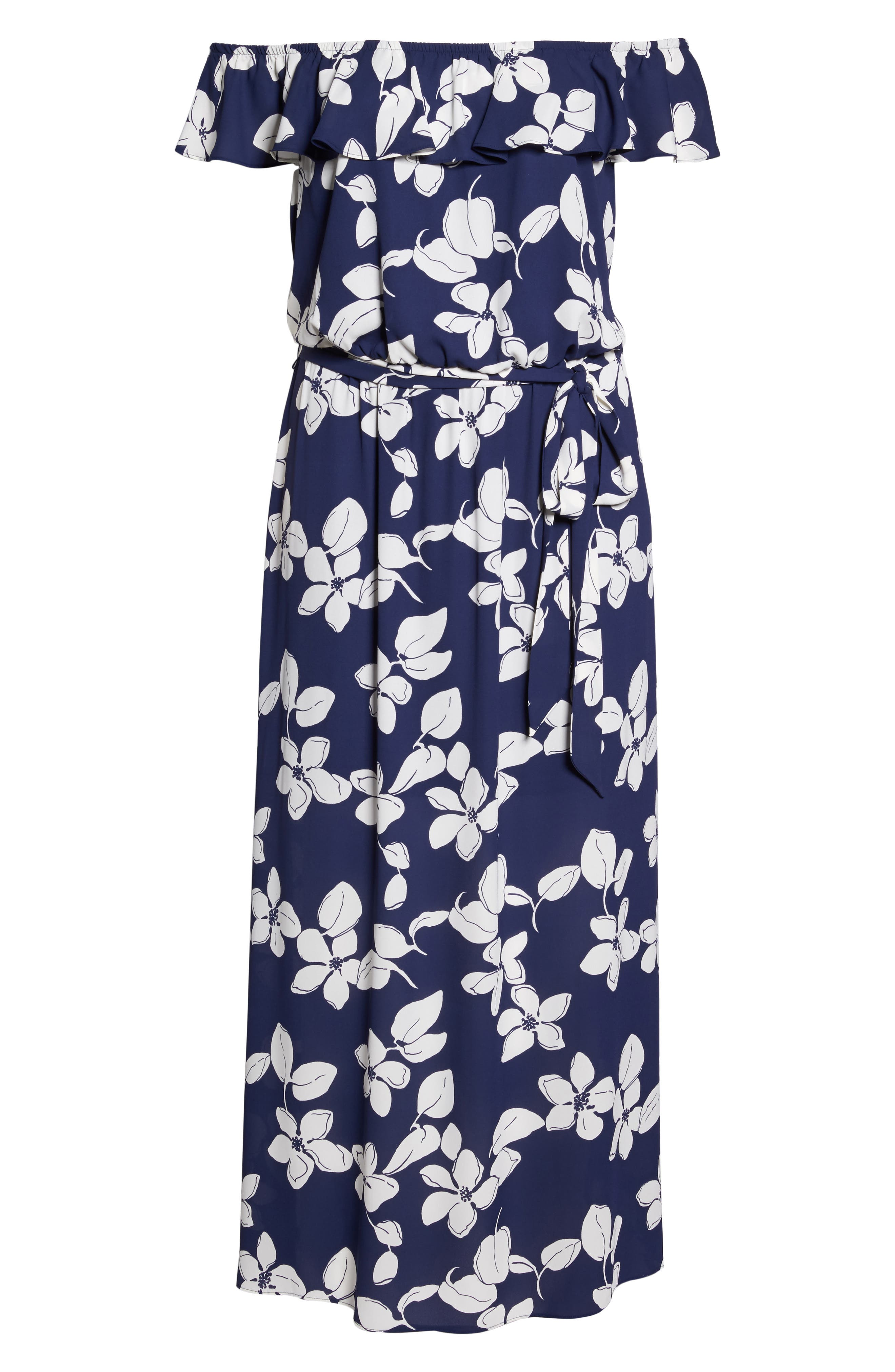 ADRIANNA PAPELL,                             Simple Delight Ruffle Maxi Dress,                             Alternate thumbnail 6, color,                             480