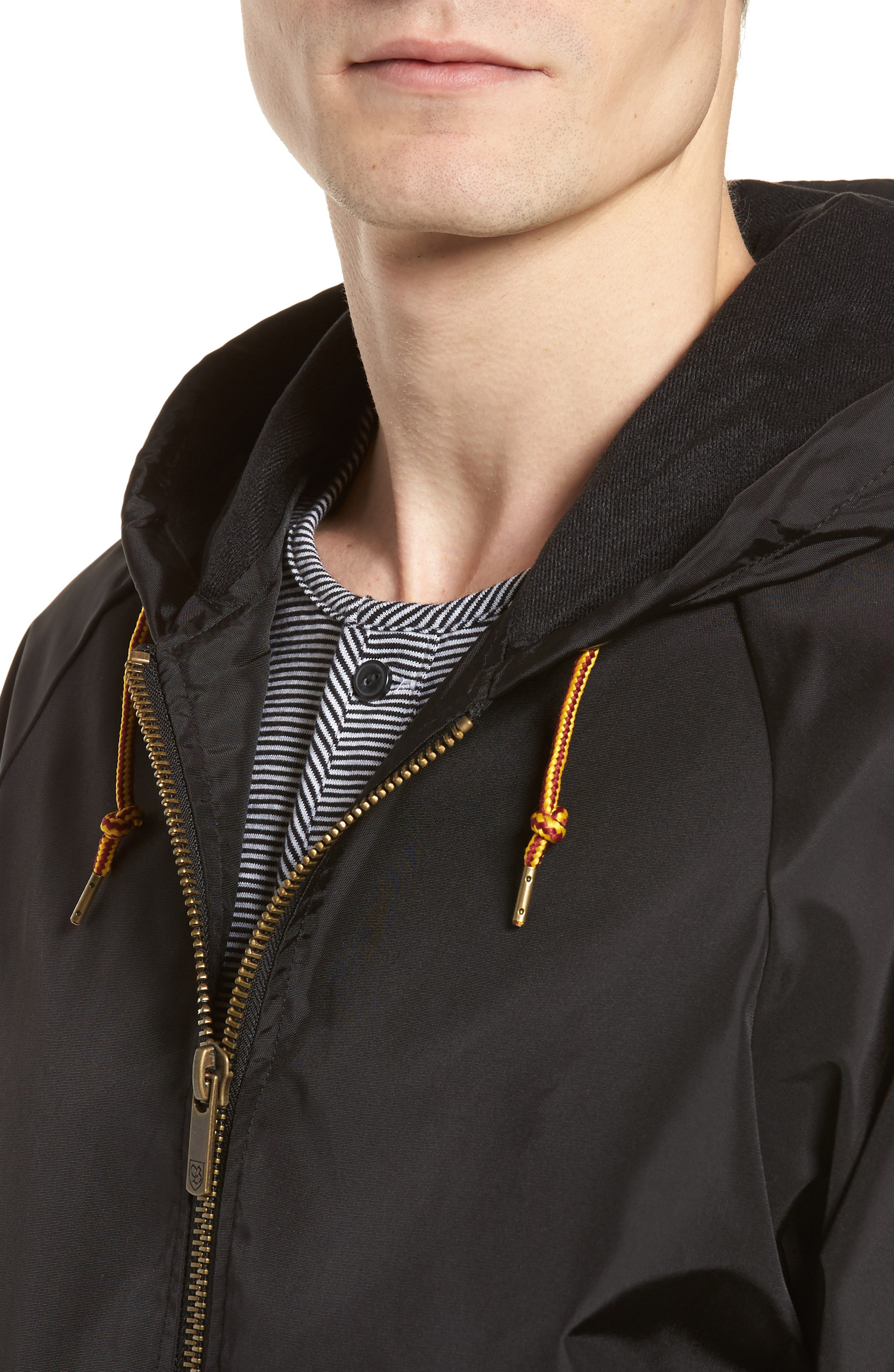 Claxton Water Repellent Hooded Windbreaker,                             Alternate thumbnail 4, color,                             001