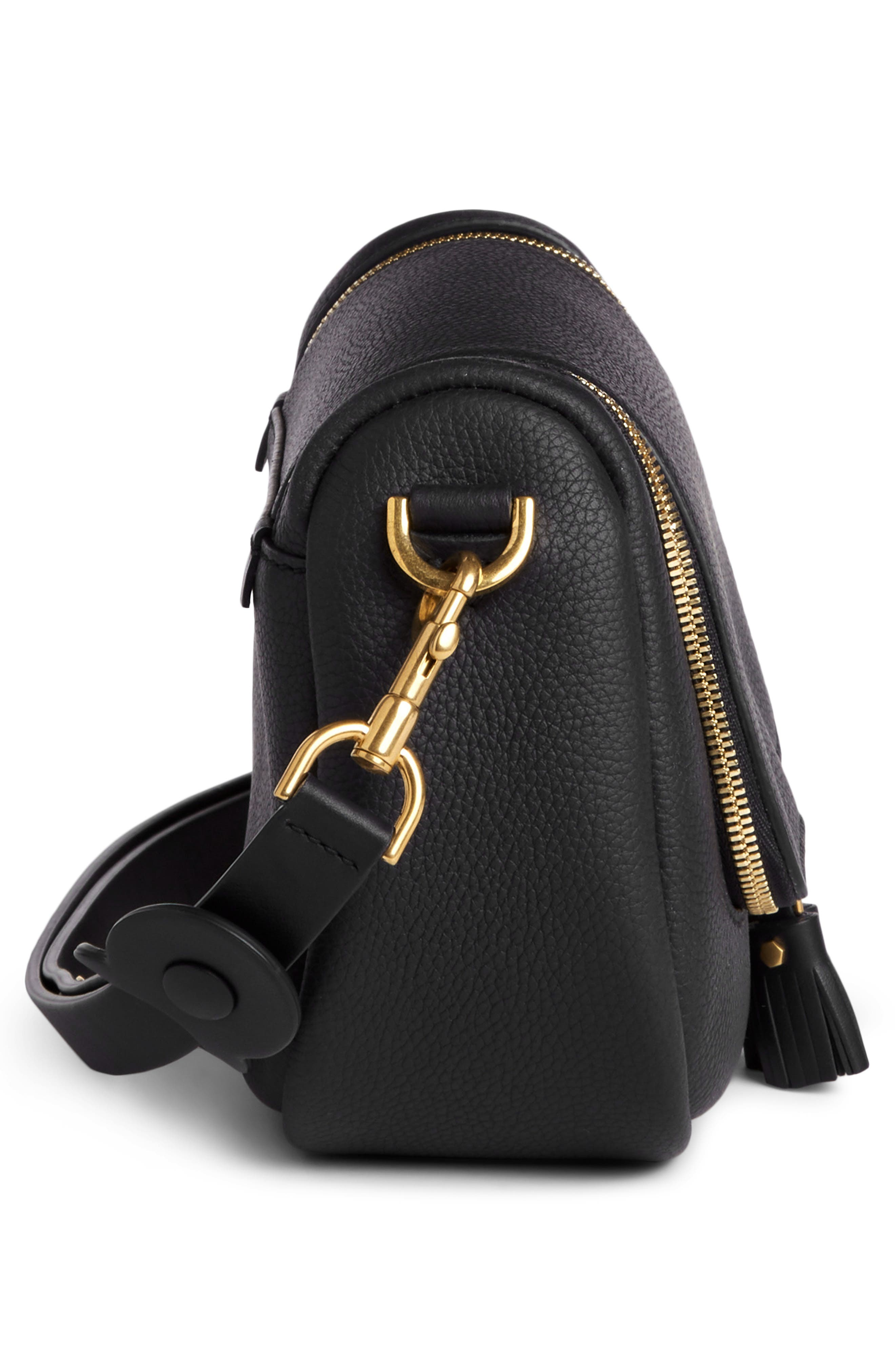 Small Vere Leather Crossbody Satchel,                             Alternate thumbnail 4, color,                             BLACK