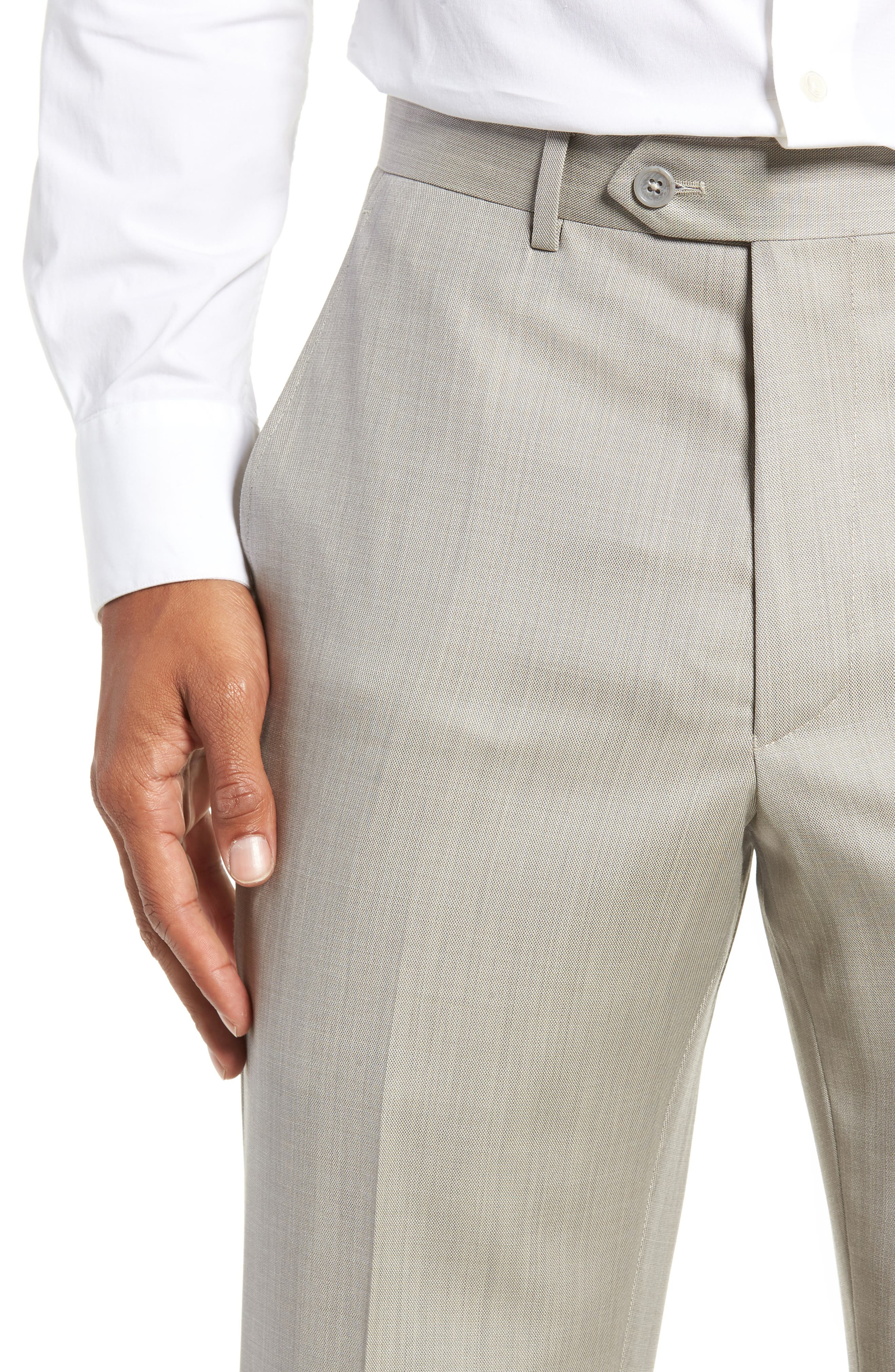 Flat Front Sharkskin Wool Trousers,                             Alternate thumbnail 4, color,                             SAND