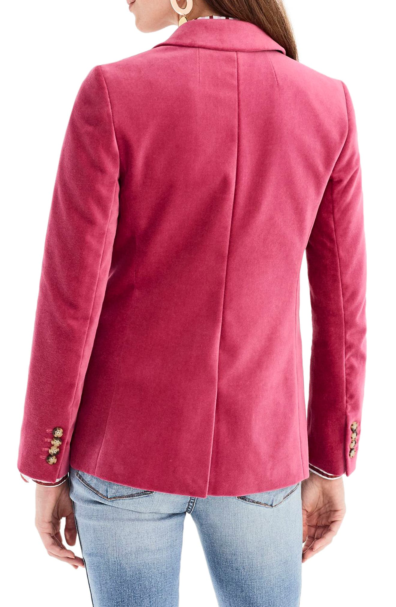 Parke Velvet Blazer,                             Alternate thumbnail 3, color,                             DRIED ROSE