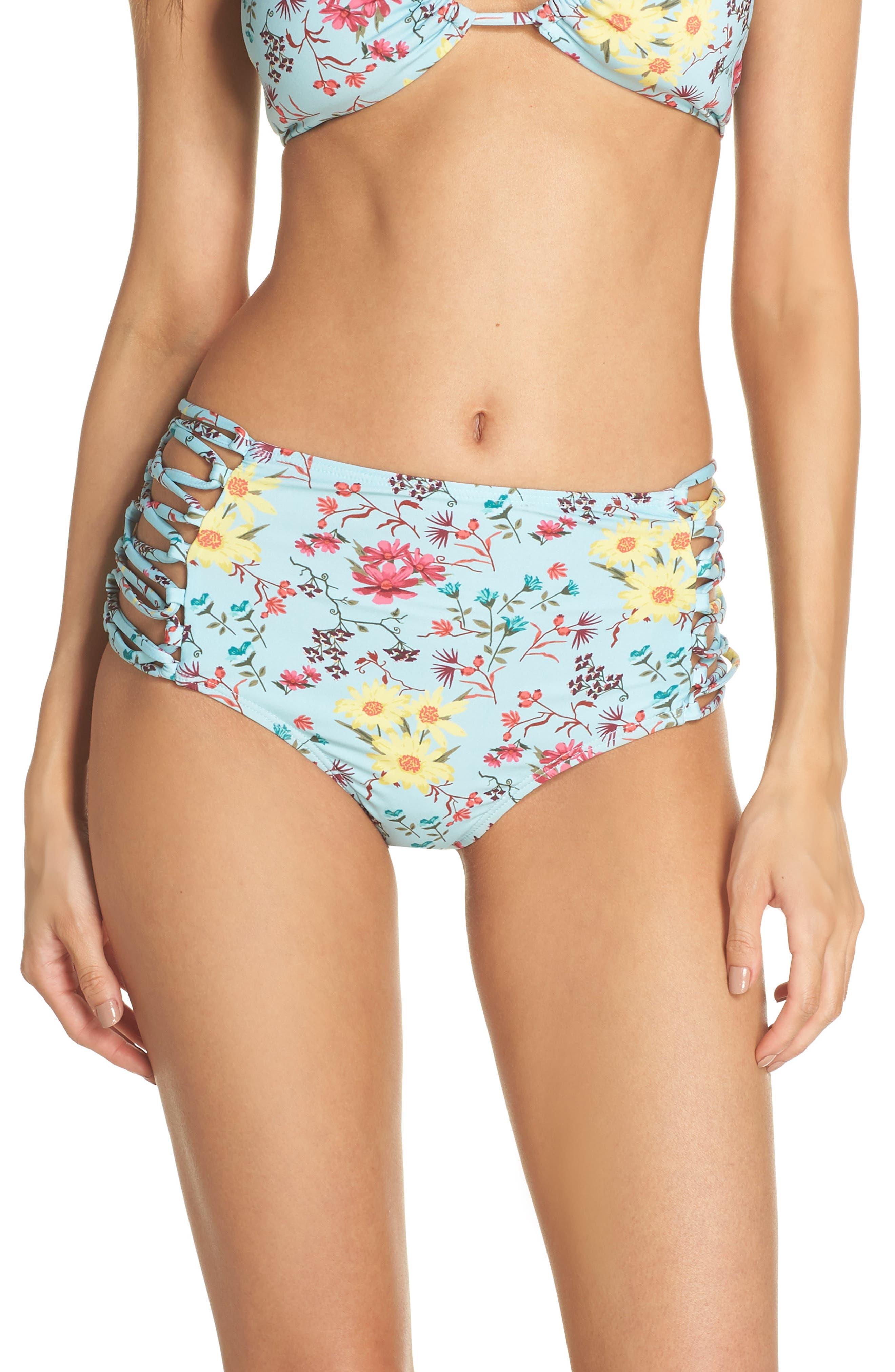Stripe High Waist Bikini Bottoms,                         Main,                         color, TEAL EGGSHELL