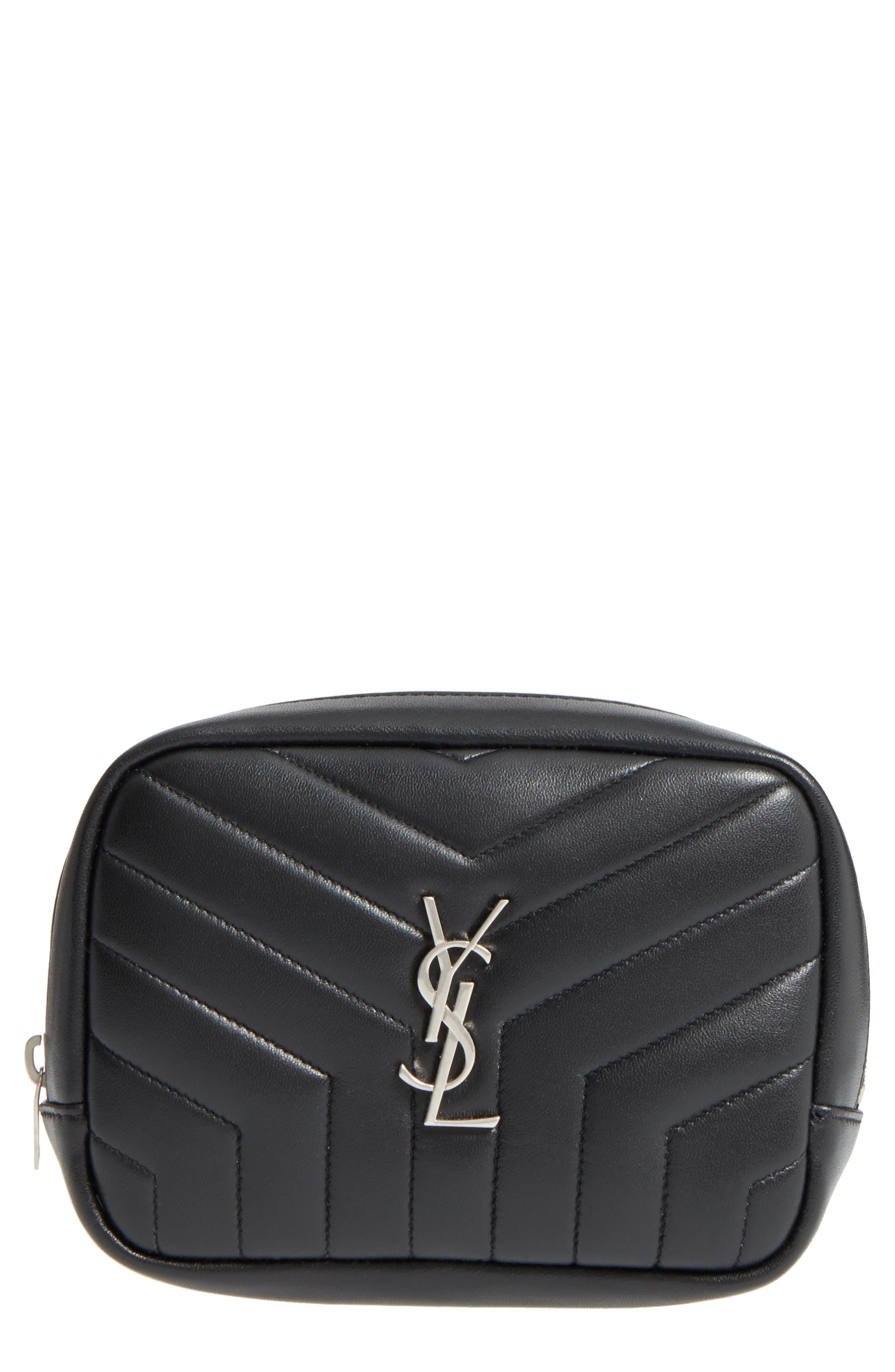 Loulou Matelassé Leather Cosmetics Bag,                             Main thumbnail 1, color,                             BLACK