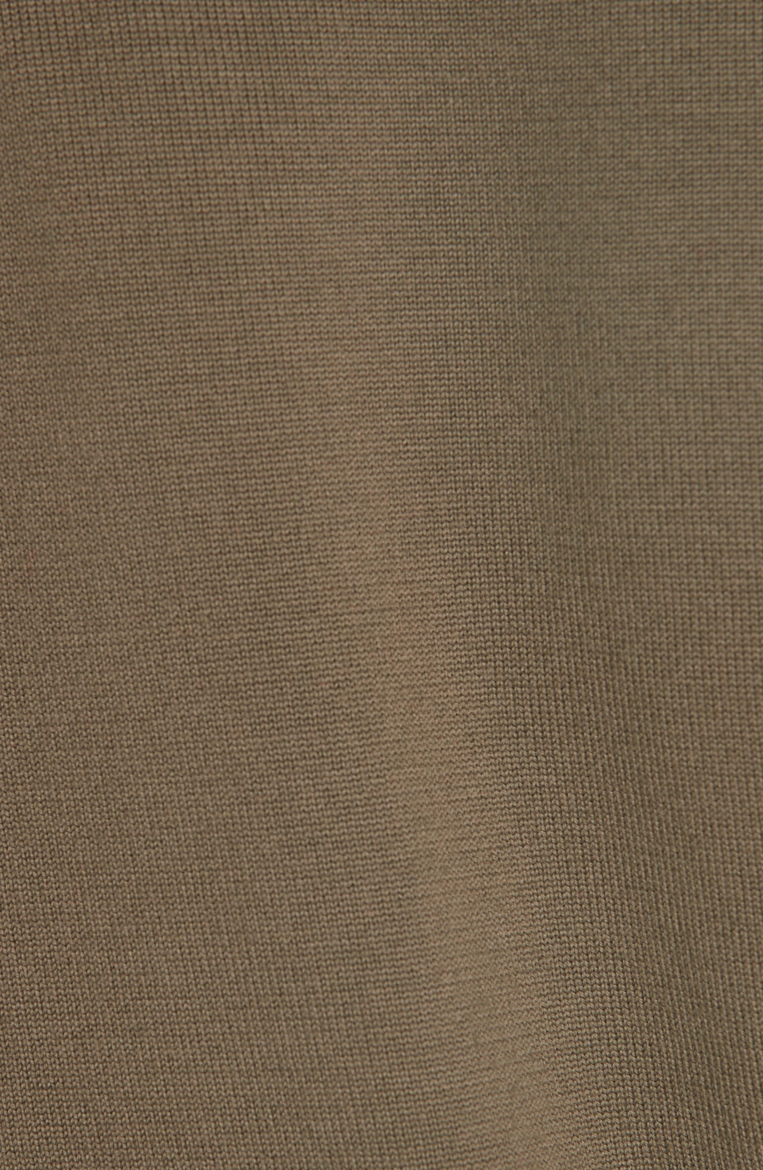 MONSE,                             Knit & Stripe Poplin Asymmetrical Dress,                             Alternate thumbnail 5, color,                             OLIVE/ WHITE