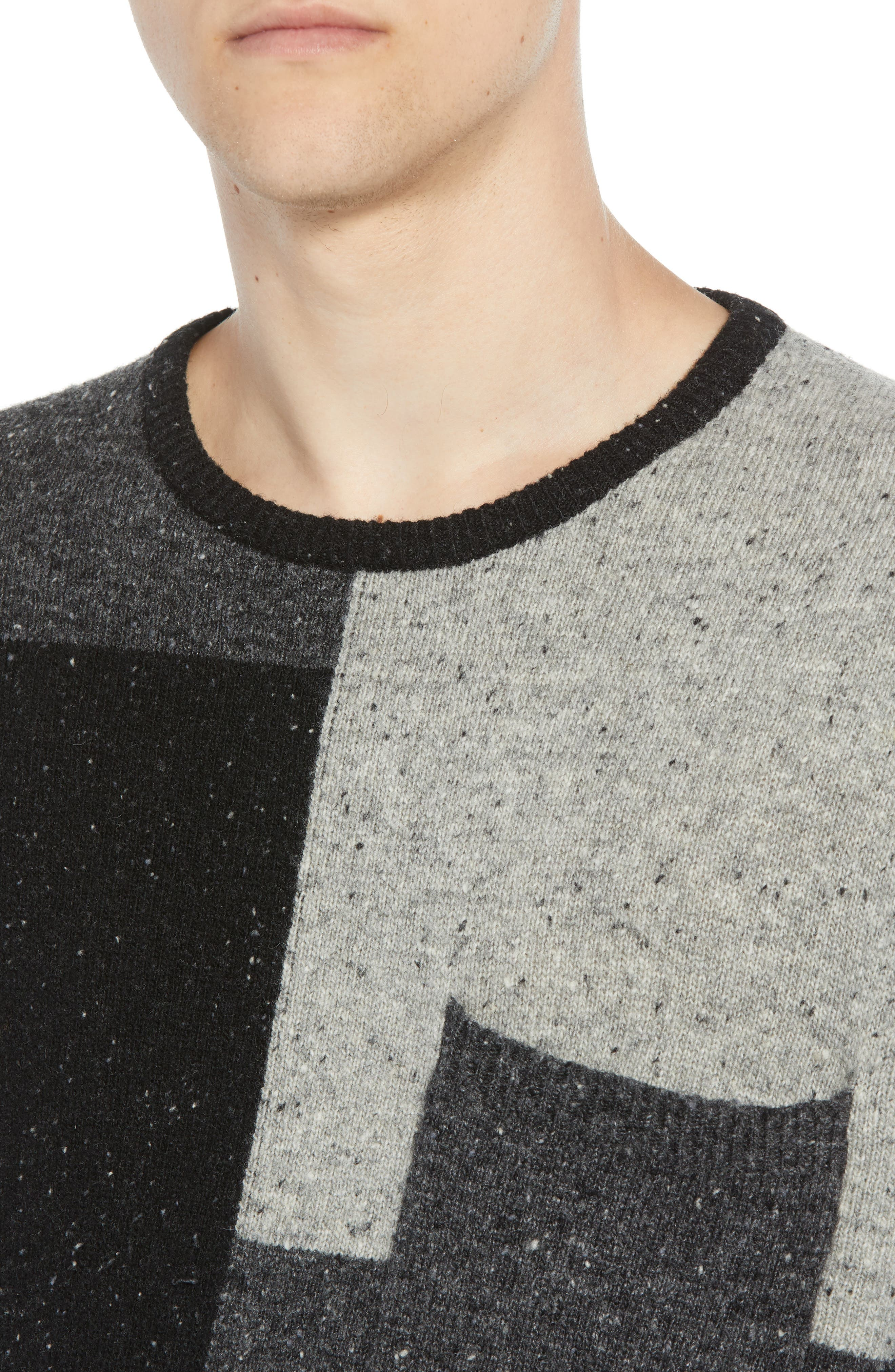Patchwork Donegal Wool Blend Sweater,                             Alternate thumbnail 4, color,                             LIGHT GREY MELANGE CHARCOAL