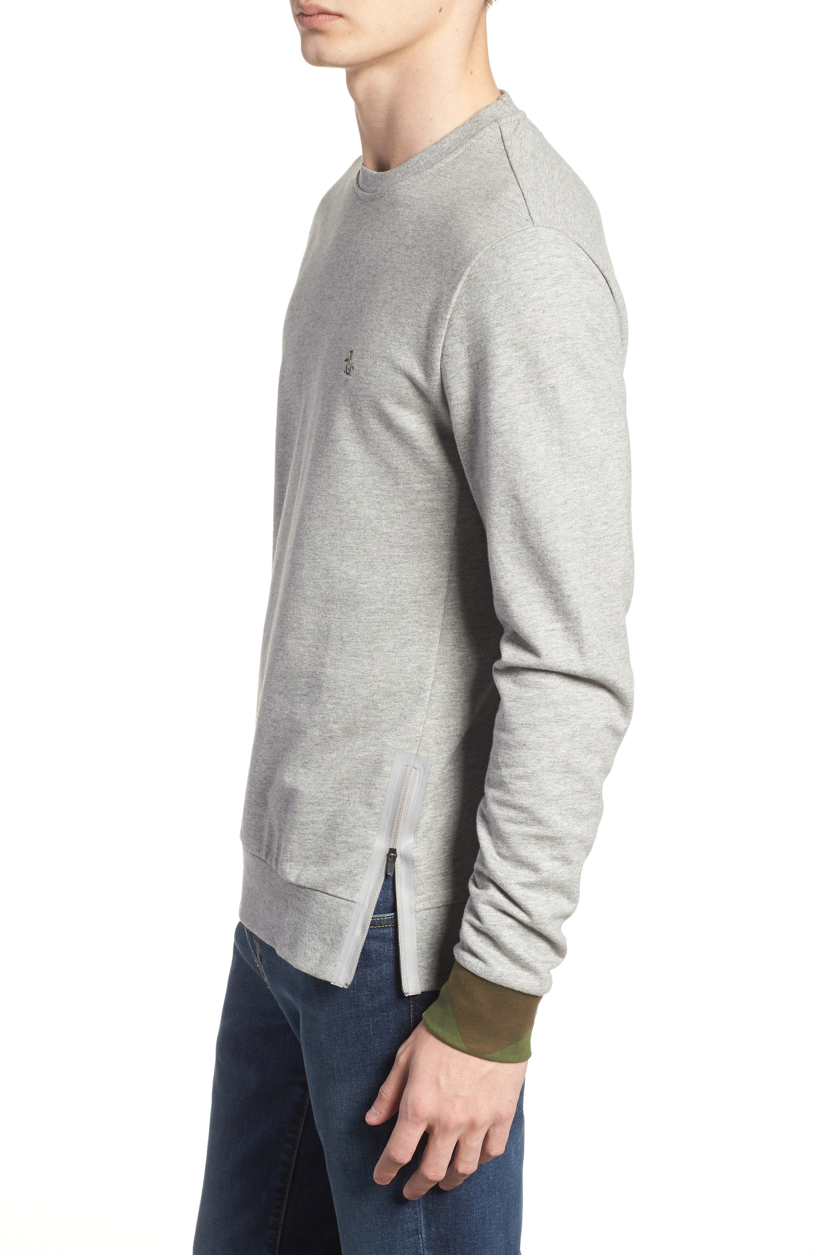 Camo Cuff Sweatshirt,                             Alternate thumbnail 3, color,                             RAIN HEATHER