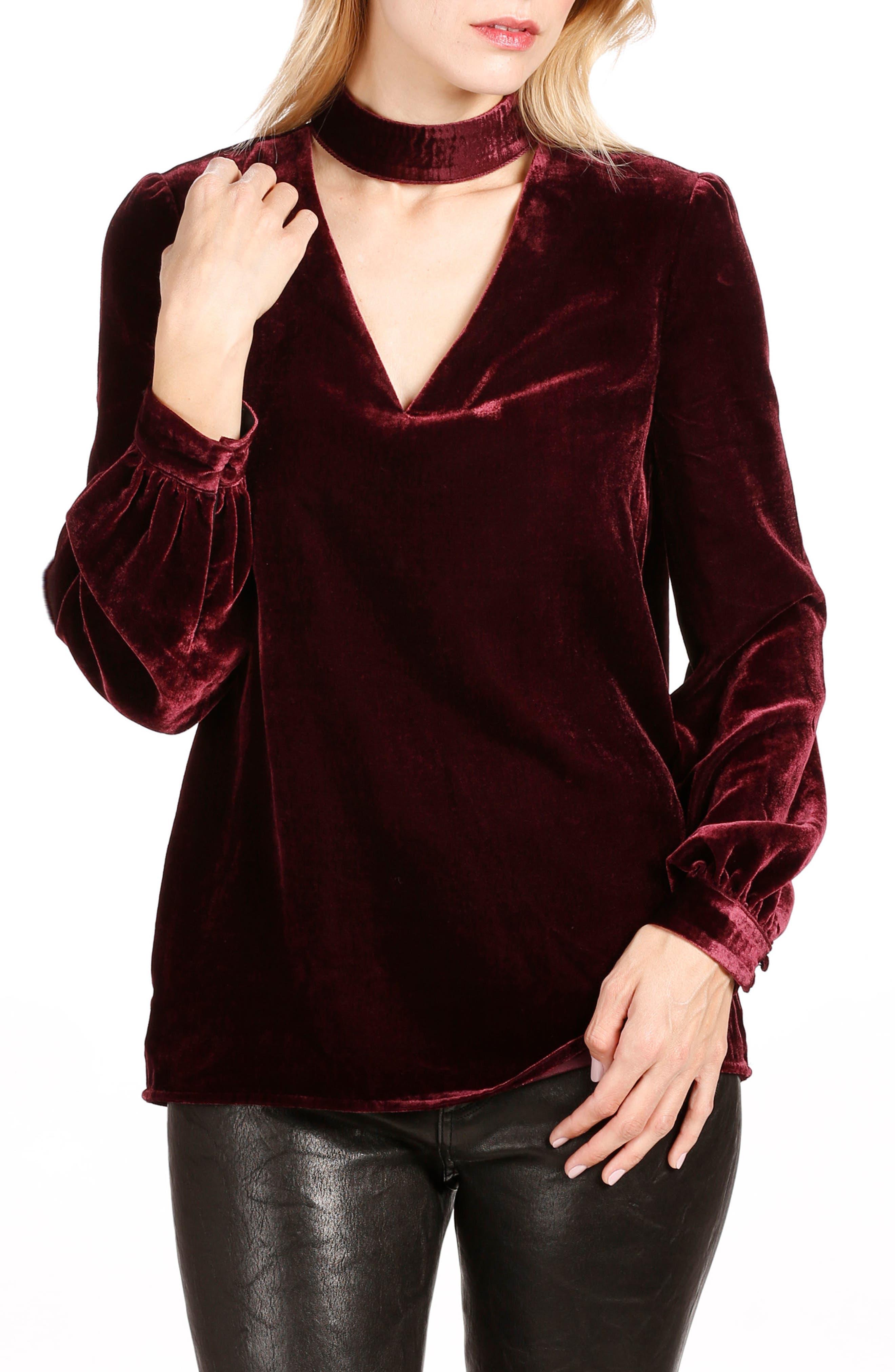 Tamar Velvet Choker Blouse,                         Main,                         color,