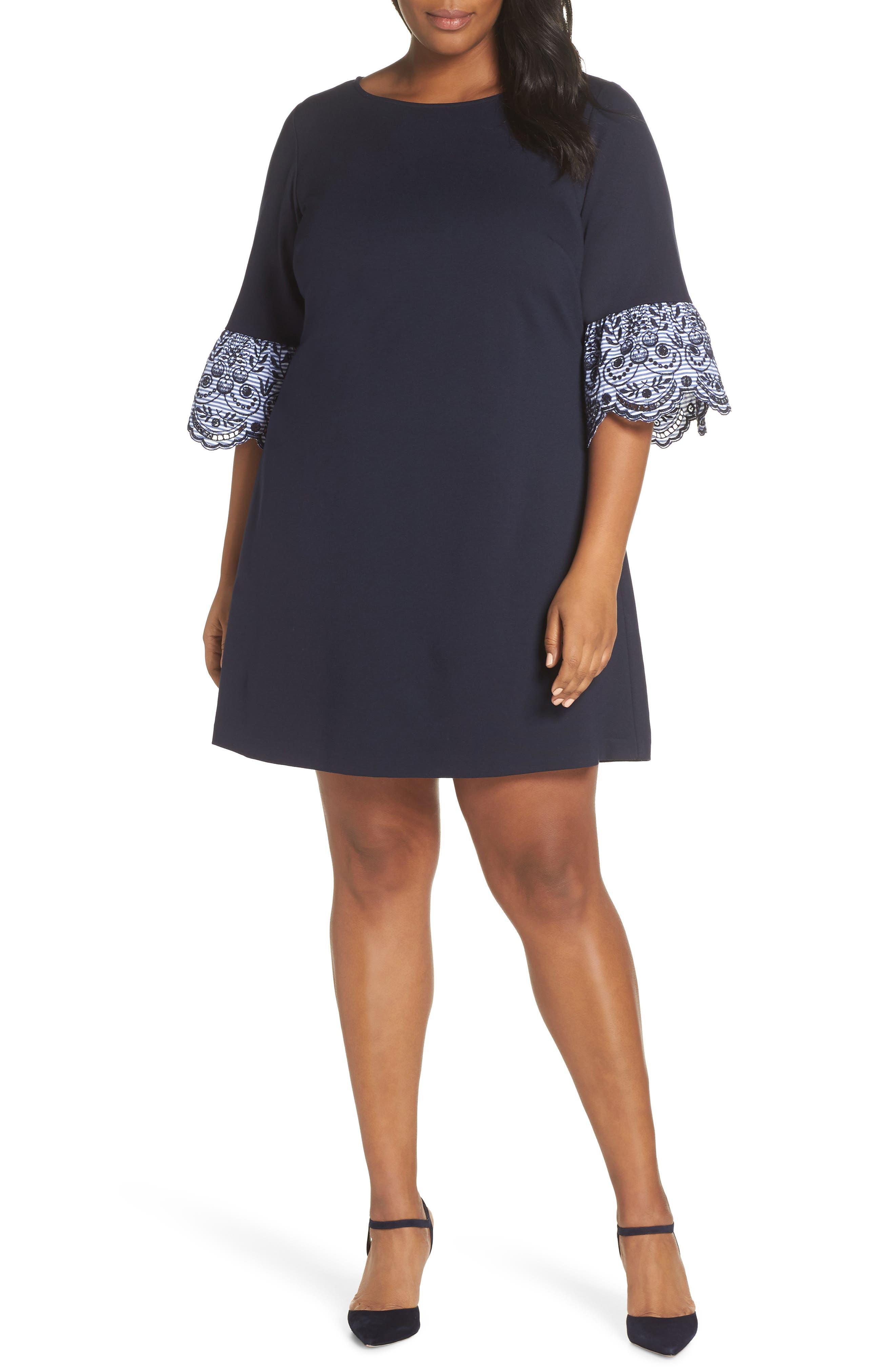 Flare Cuff Shift Dress, Main, color, NAVY