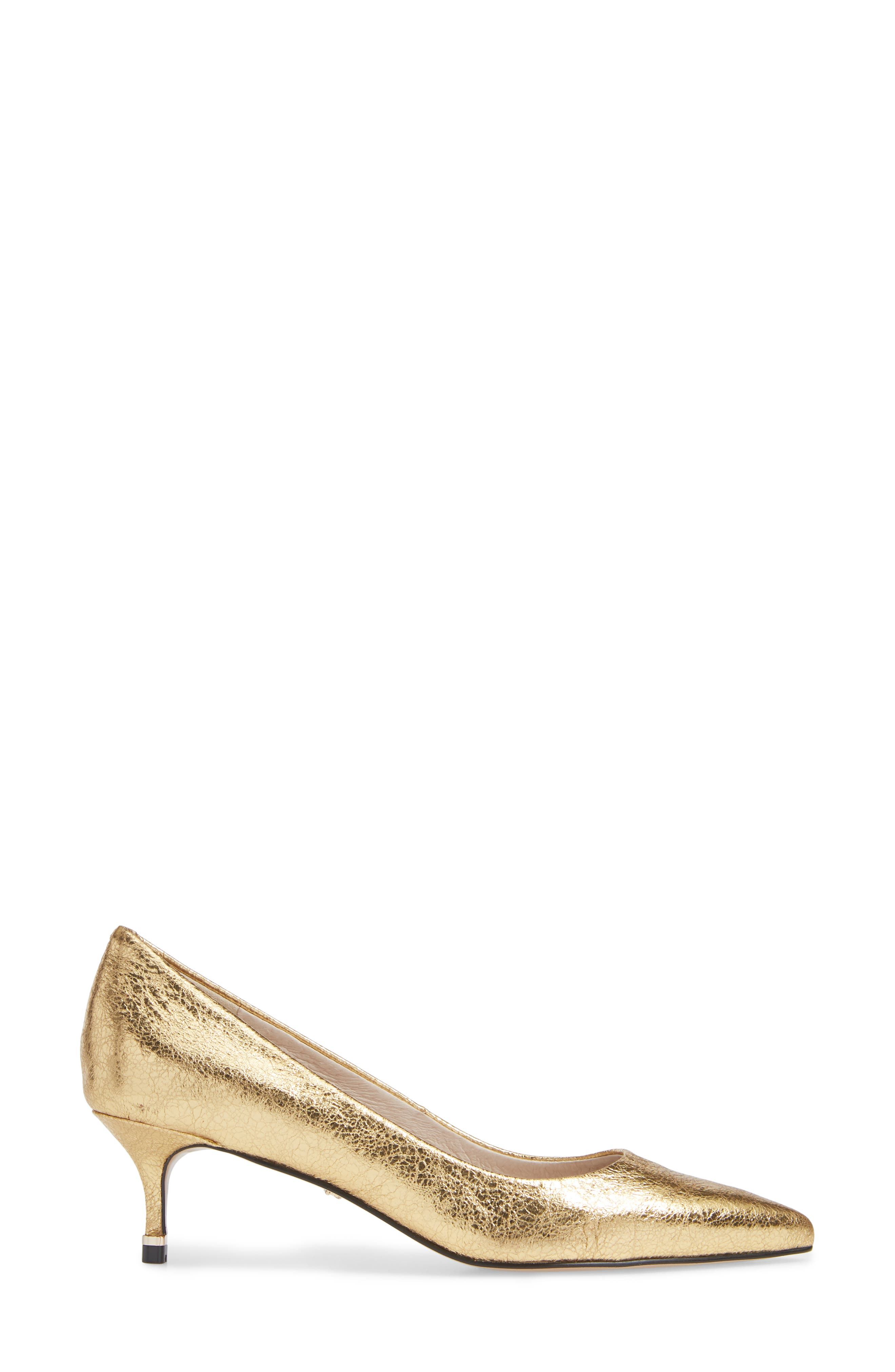 Riley 50 Pump,                             Alternate thumbnail 3, color,                             YELLOW GOLD LEATHER