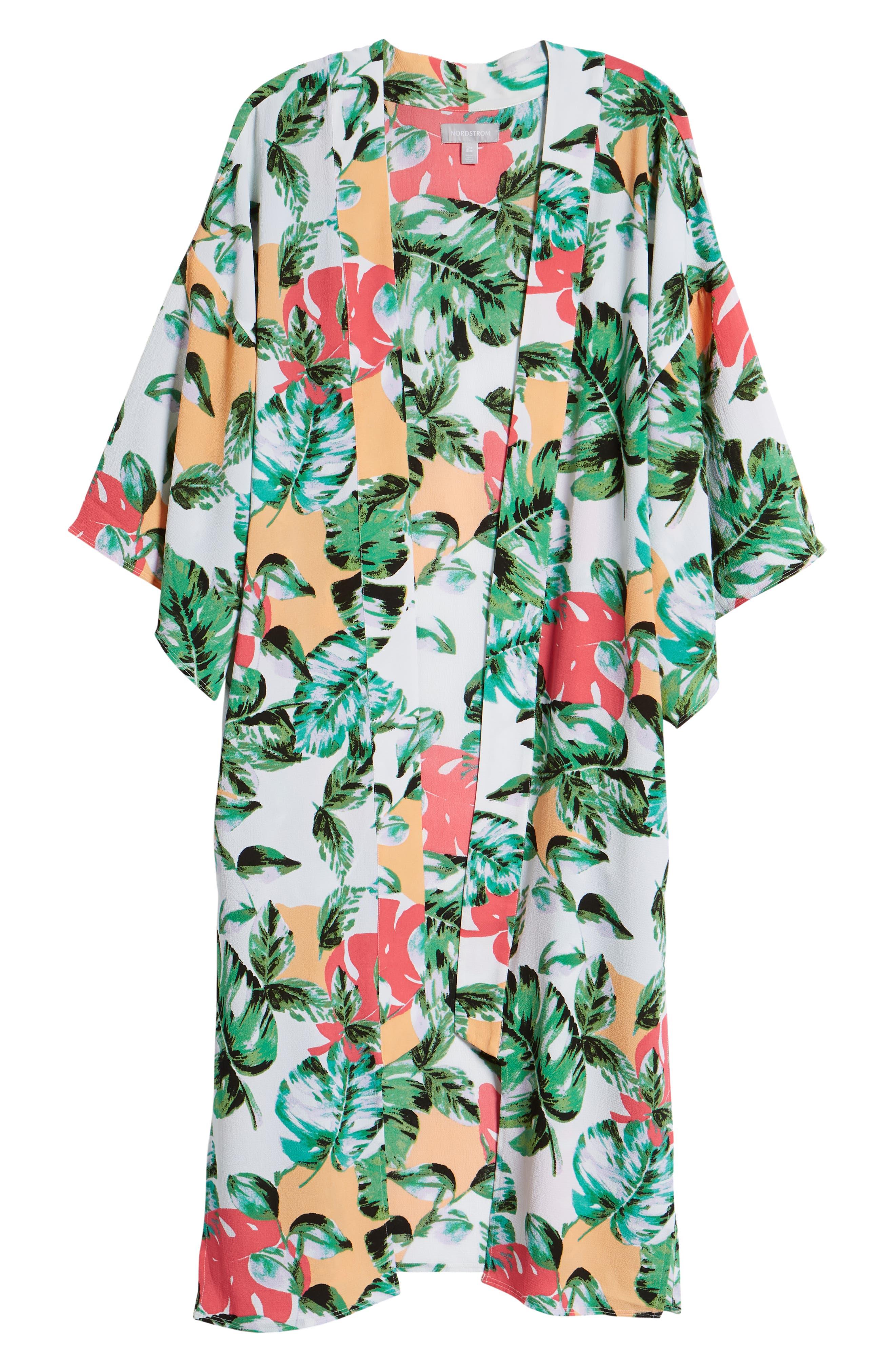 Vacation Print Kimono,                             Alternate thumbnail 6, color,                             CORAL PALMS PLEASE