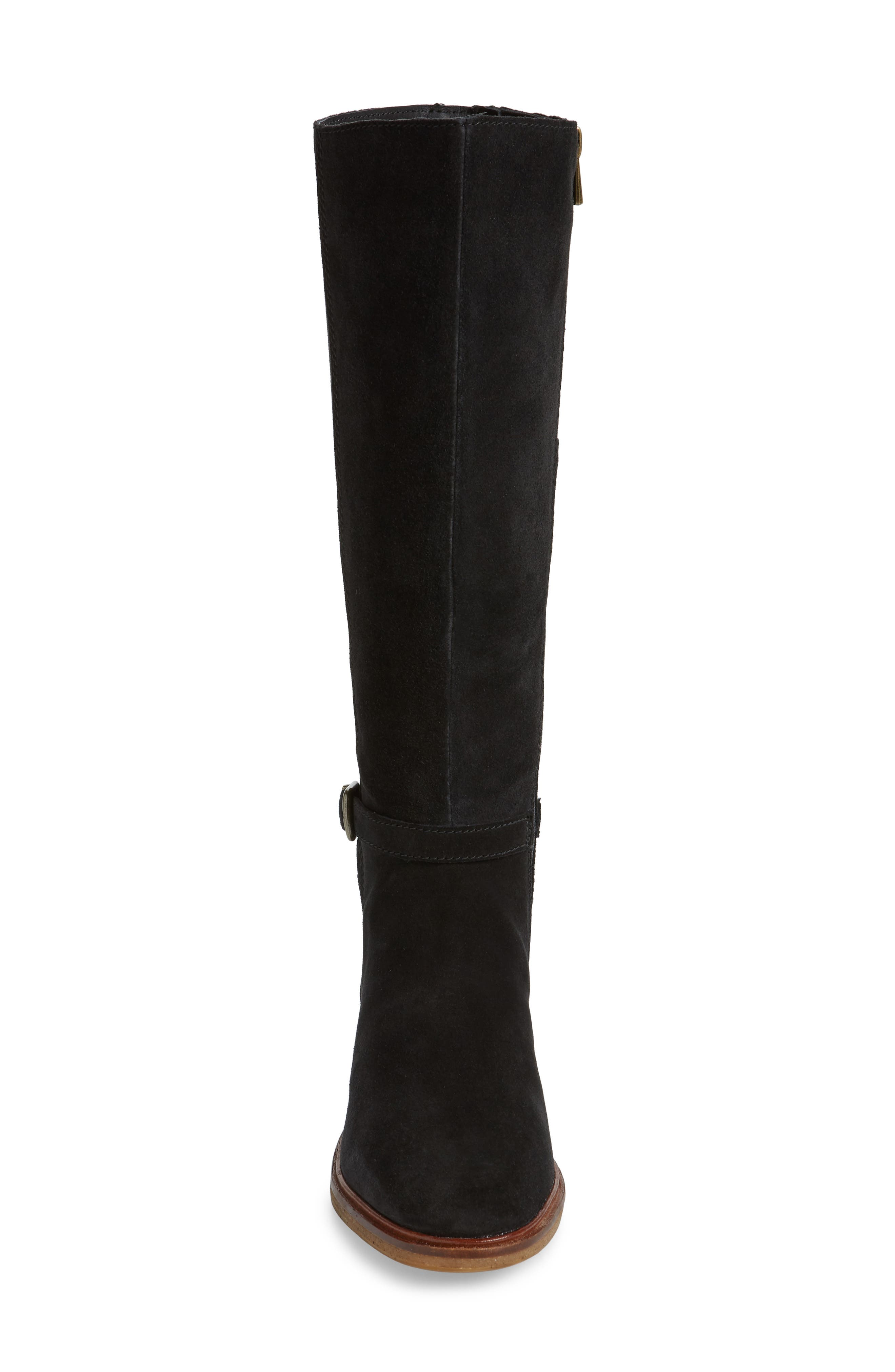 Clarkdale Clad Boot,                             Alternate thumbnail 4, color,                             BLACK SUEDE