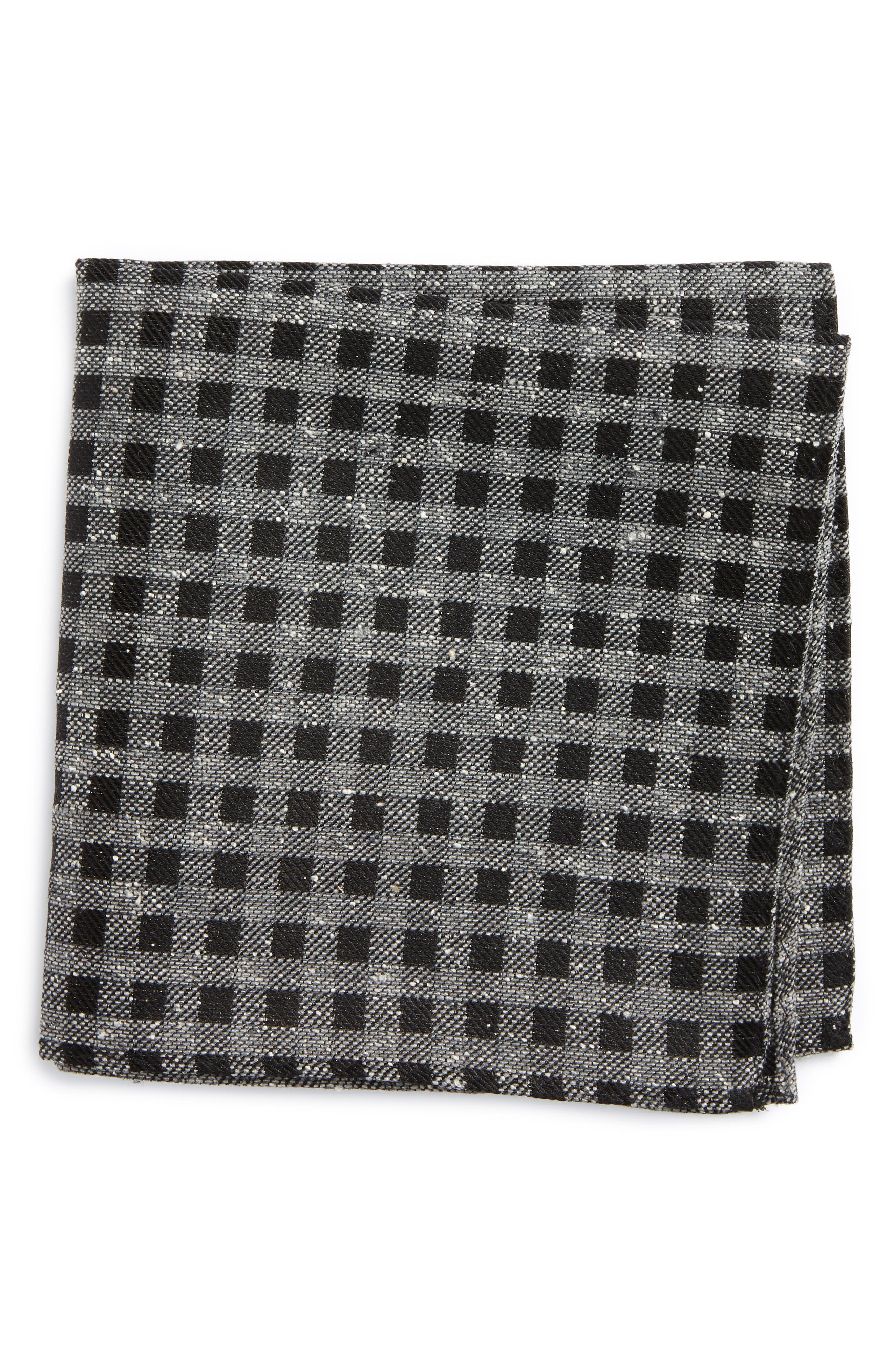 Cement Checks Silk Pocket Square,                             Main thumbnail 1, color,                             001