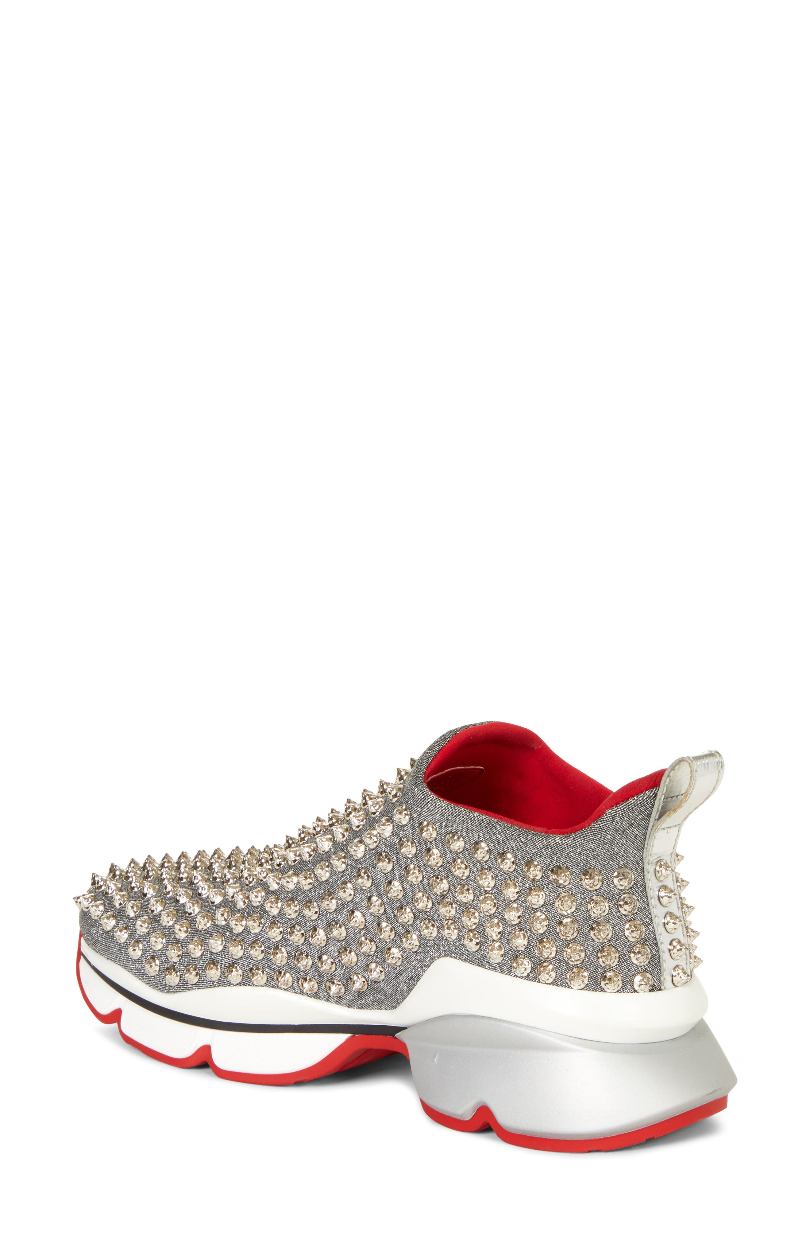 CHRISTIAN LOUBOUTIN,                             Spiky Sock-Knit Slip-On Sneaker,                             Alternate thumbnail 2, color,                             SILVER