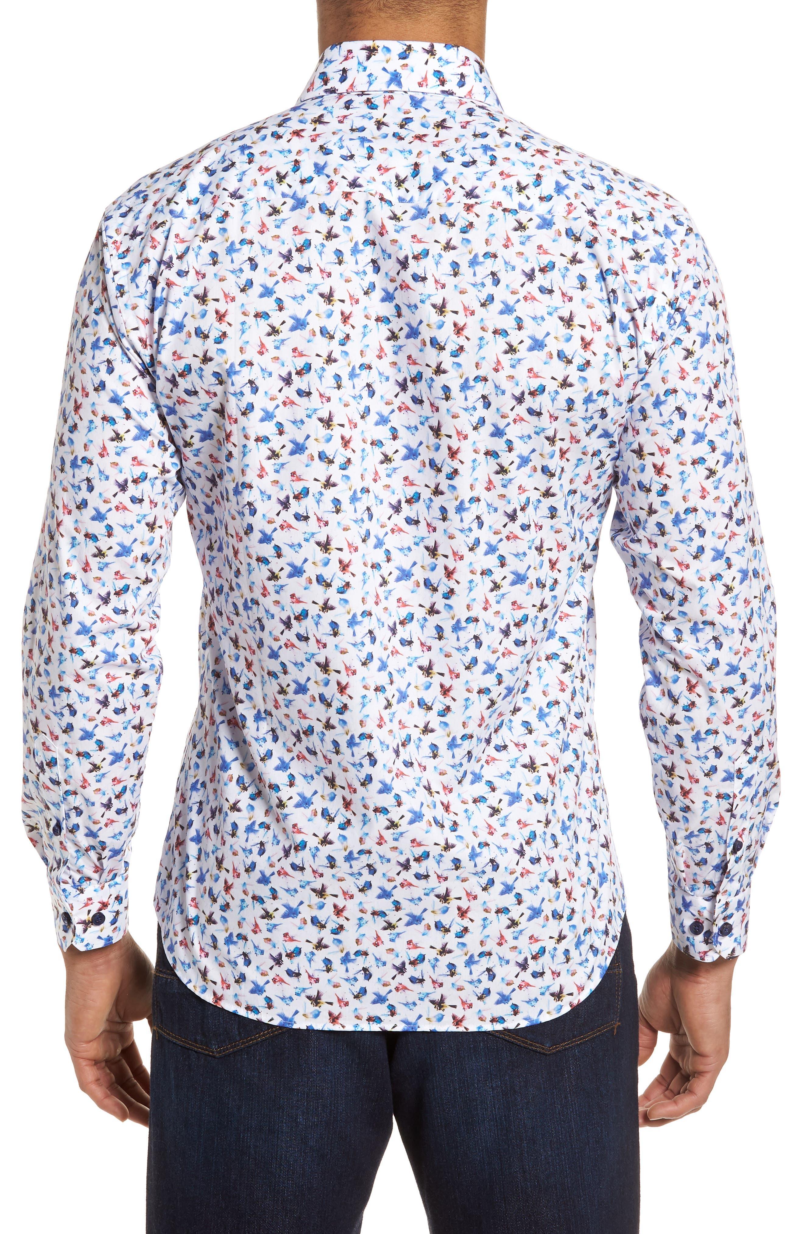 Slim Fit Bird Print Sport Shirt,                             Alternate thumbnail 2, color,                             963