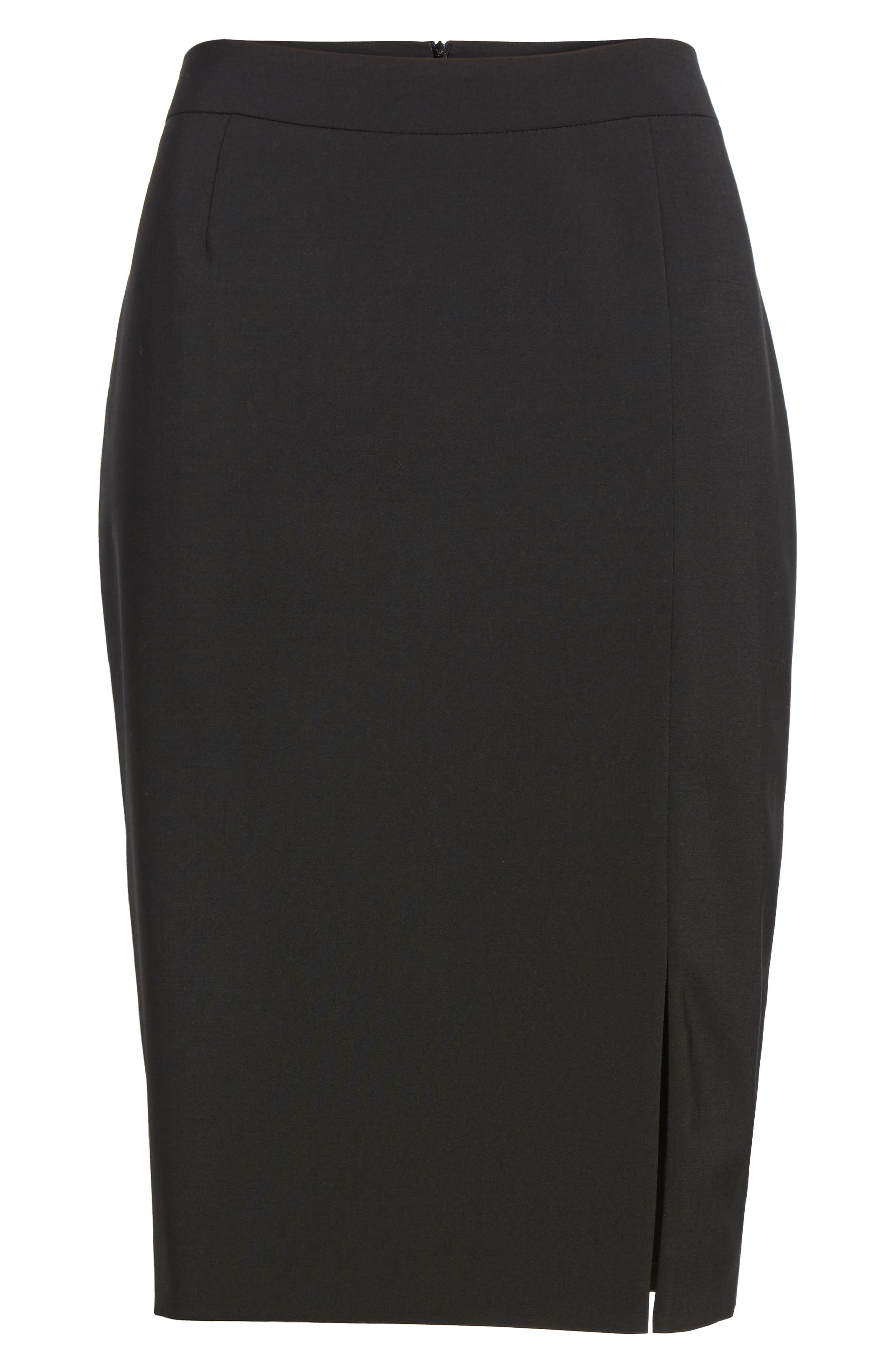 Volania Stretch Wool Pencil Skirt,                             Alternate thumbnail 6, color,                             BLACK