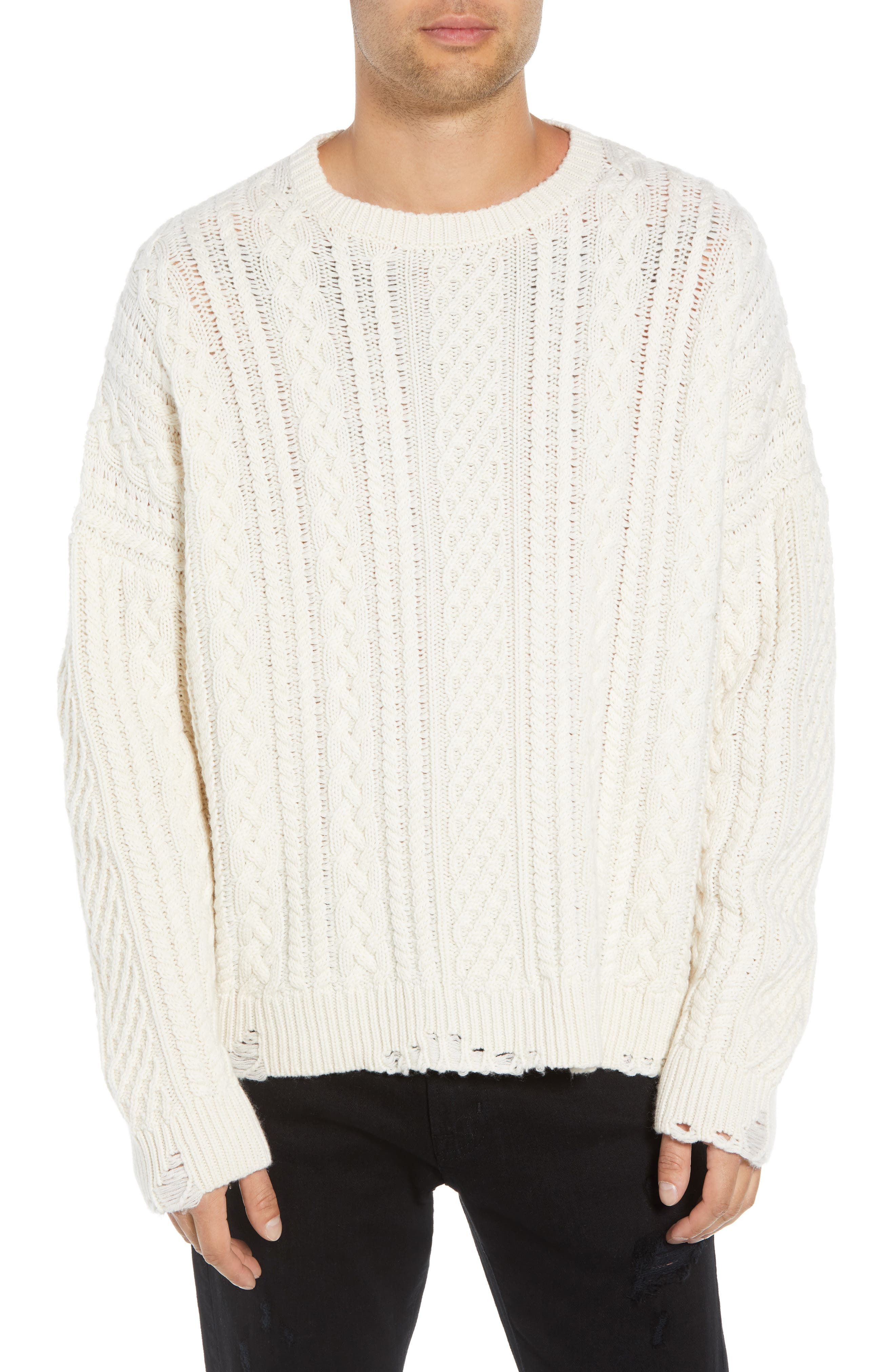 Oversize Distressed Wool Blend Sweater,                             Main thumbnail 1, color,                             BEIGE/ WHITE