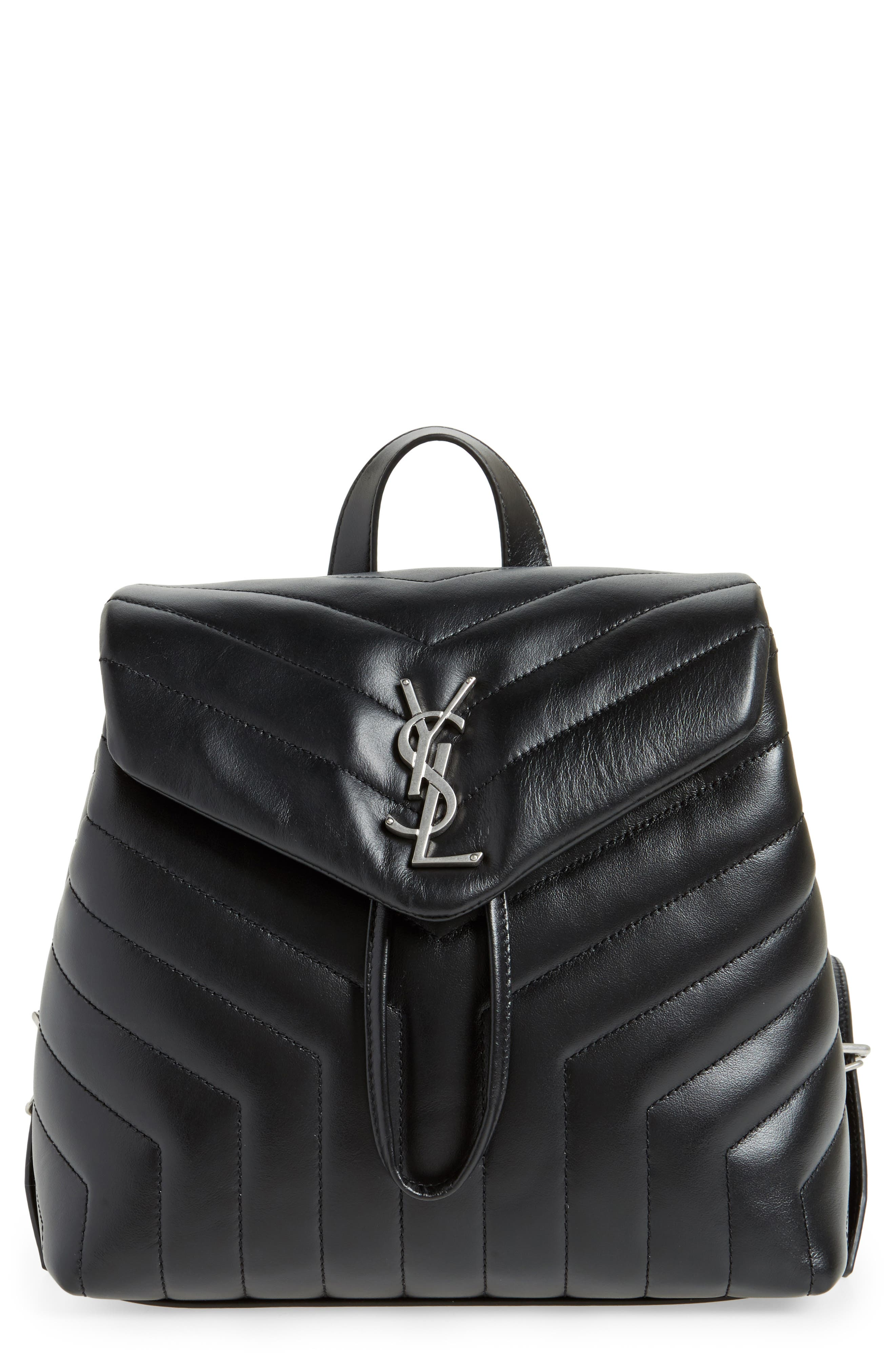 Small Loulou Quilted Calfskin Leather Backpack,                             Main thumbnail 1, color,                             NOIR