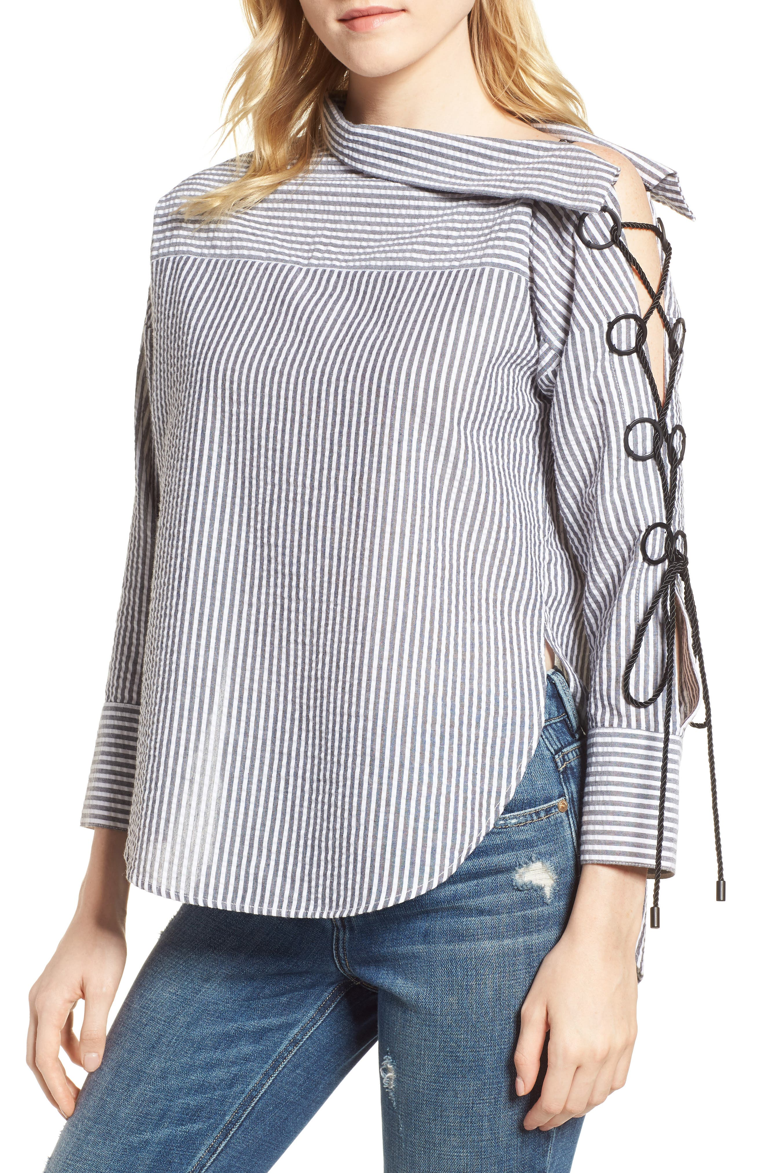 Lilliana Lace-Up Sleeve Top,                             Main thumbnail 1, color,                             BLACK/ WHITE