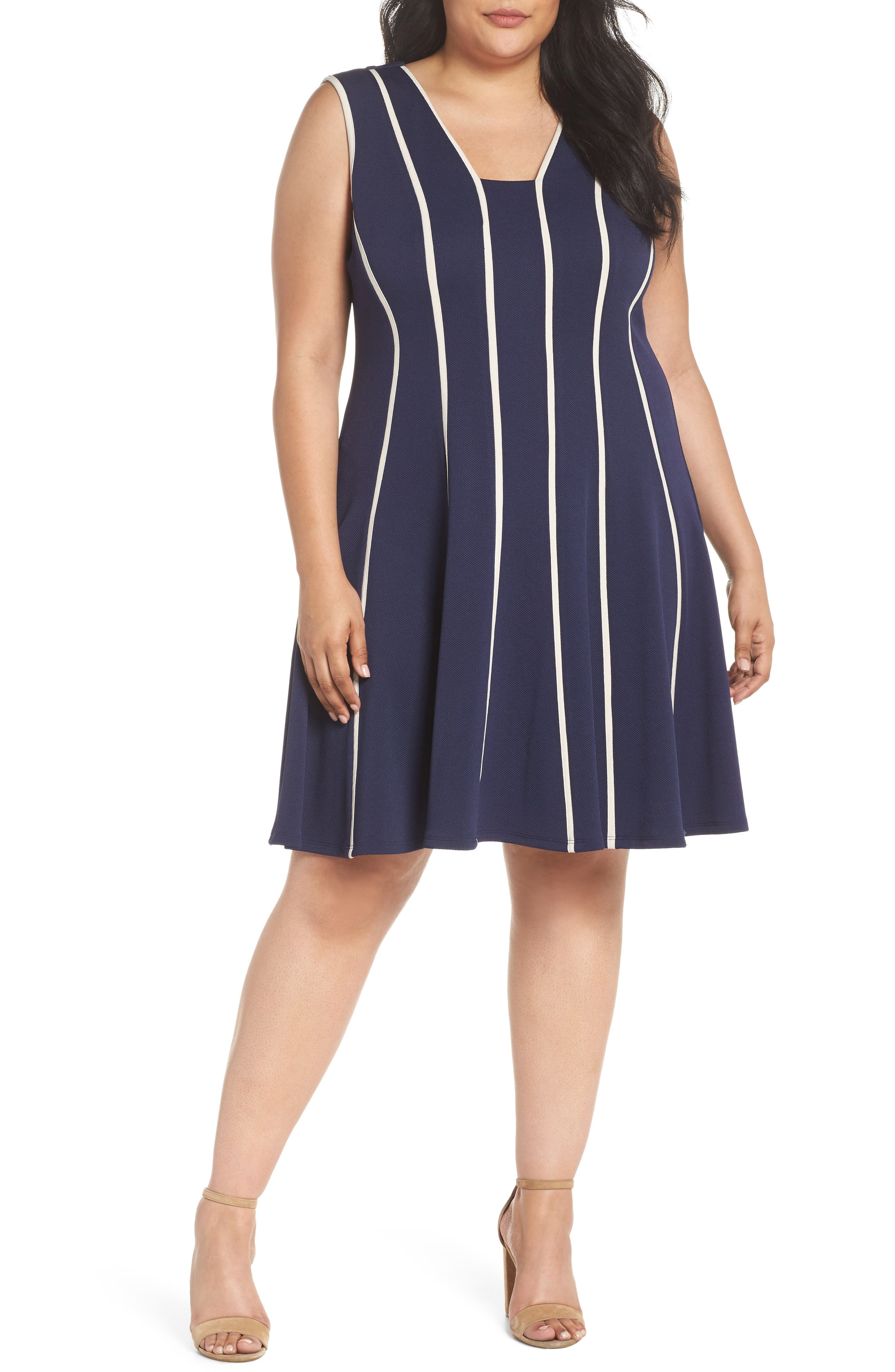 Piping Detail Fit & Flare Dress,                             Main thumbnail 1, color,                             410