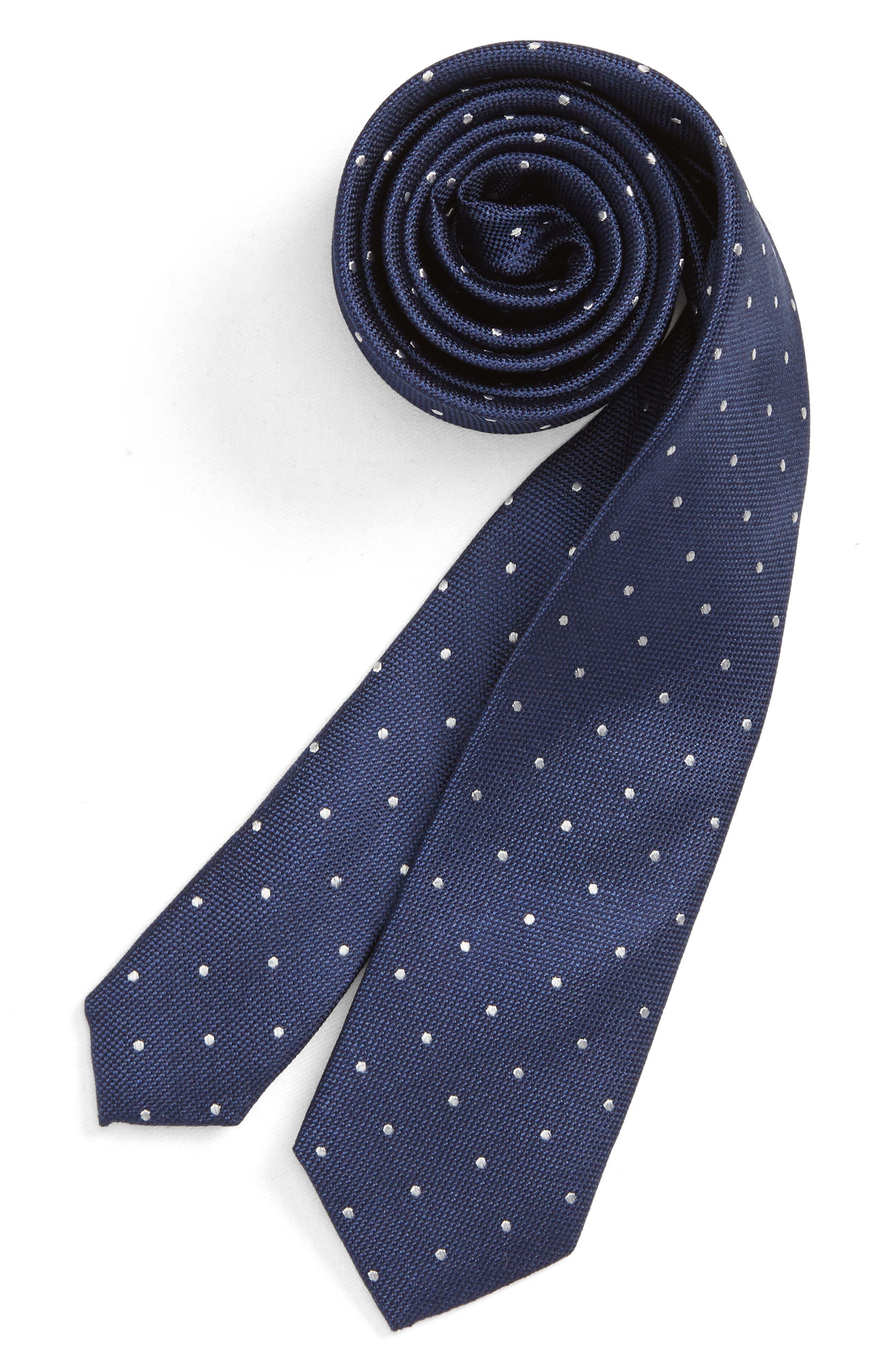 Dot Silk Tie,                         Main,                         color, NAVY