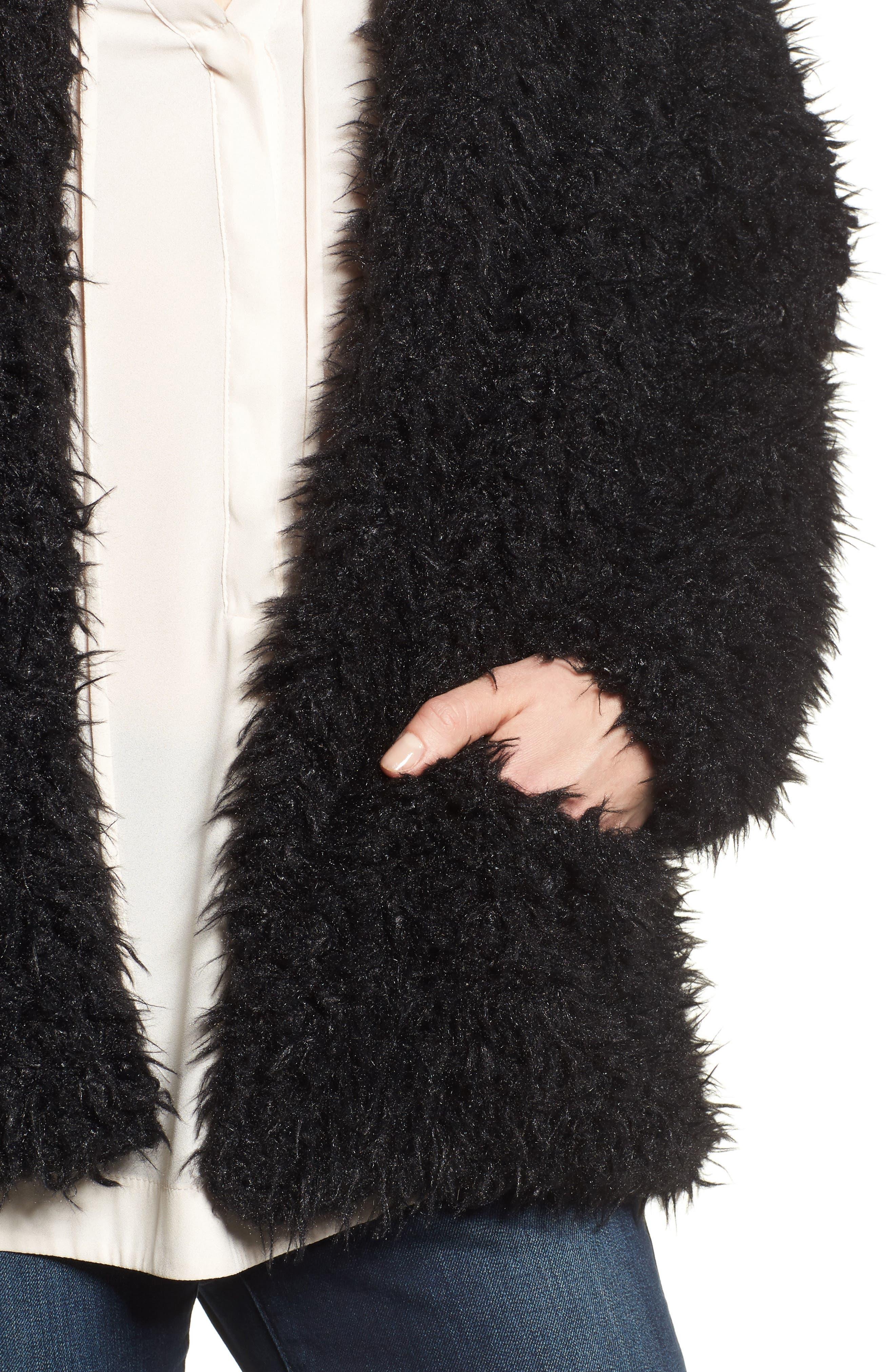 Faux Fur Jacket,                             Alternate thumbnail 4, color,                             001