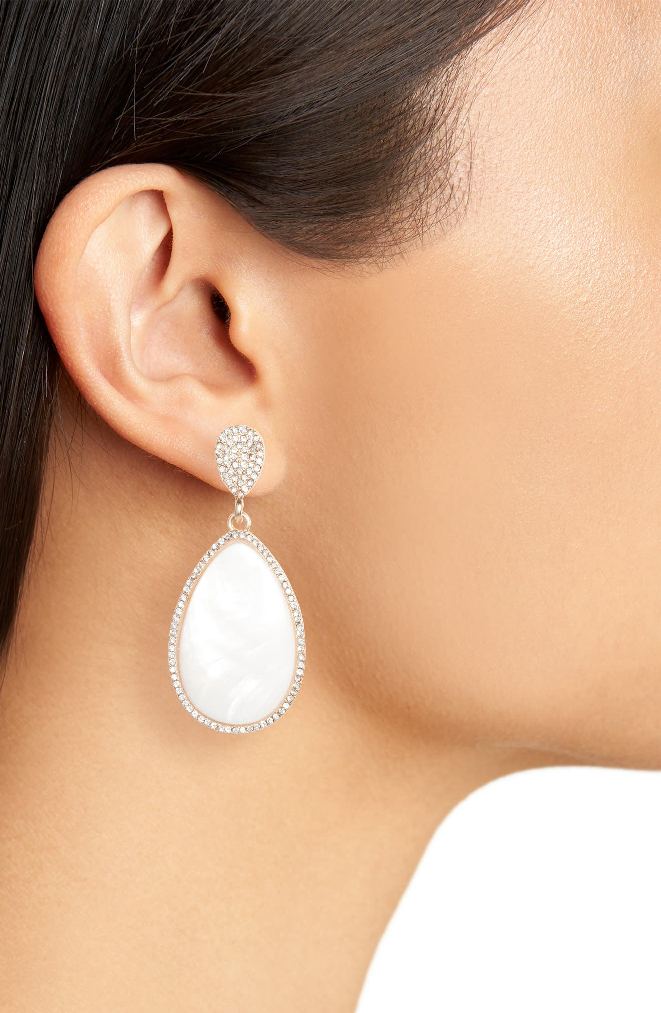 Mother-of-Pearl Drop Earrings,                             Alternate thumbnail 2, color,