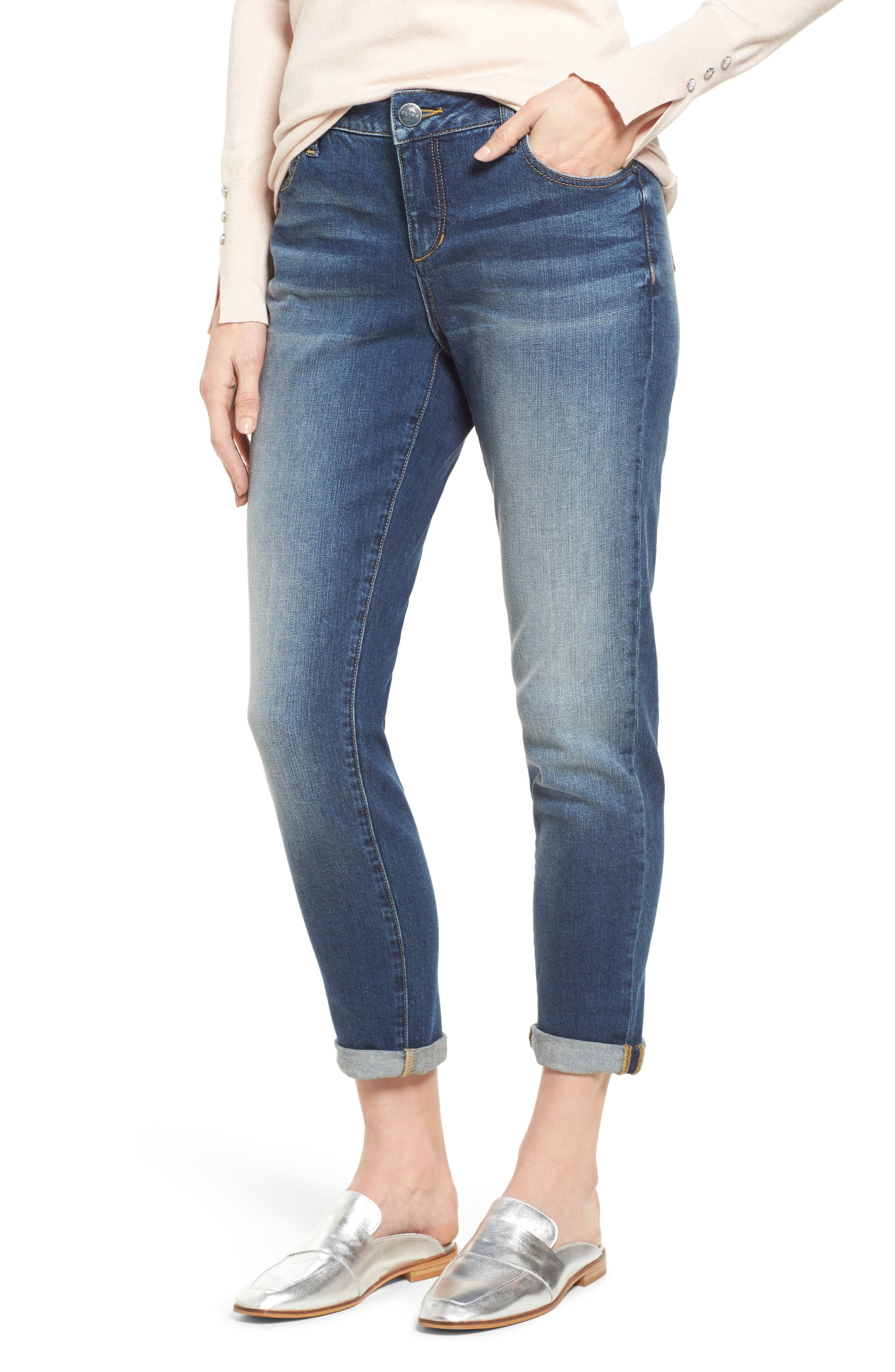 SLINK JEANS Rolled Boyfriend Jeans, Main, color, VAL