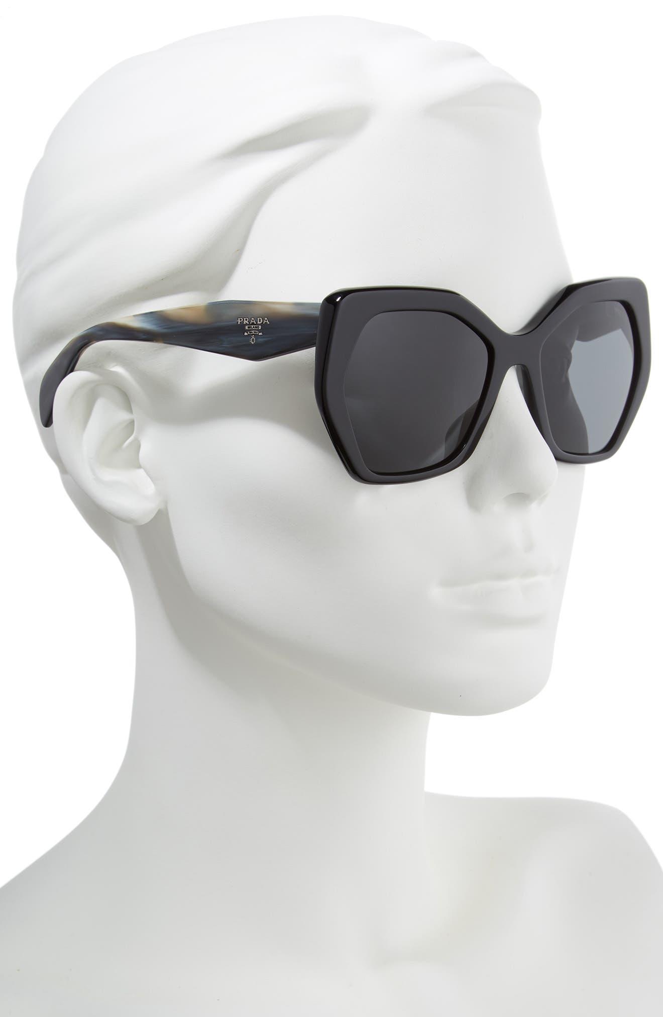 Heritage 56mm Sunglasses,                             Alternate thumbnail 2, color,                             BLACK SOLID