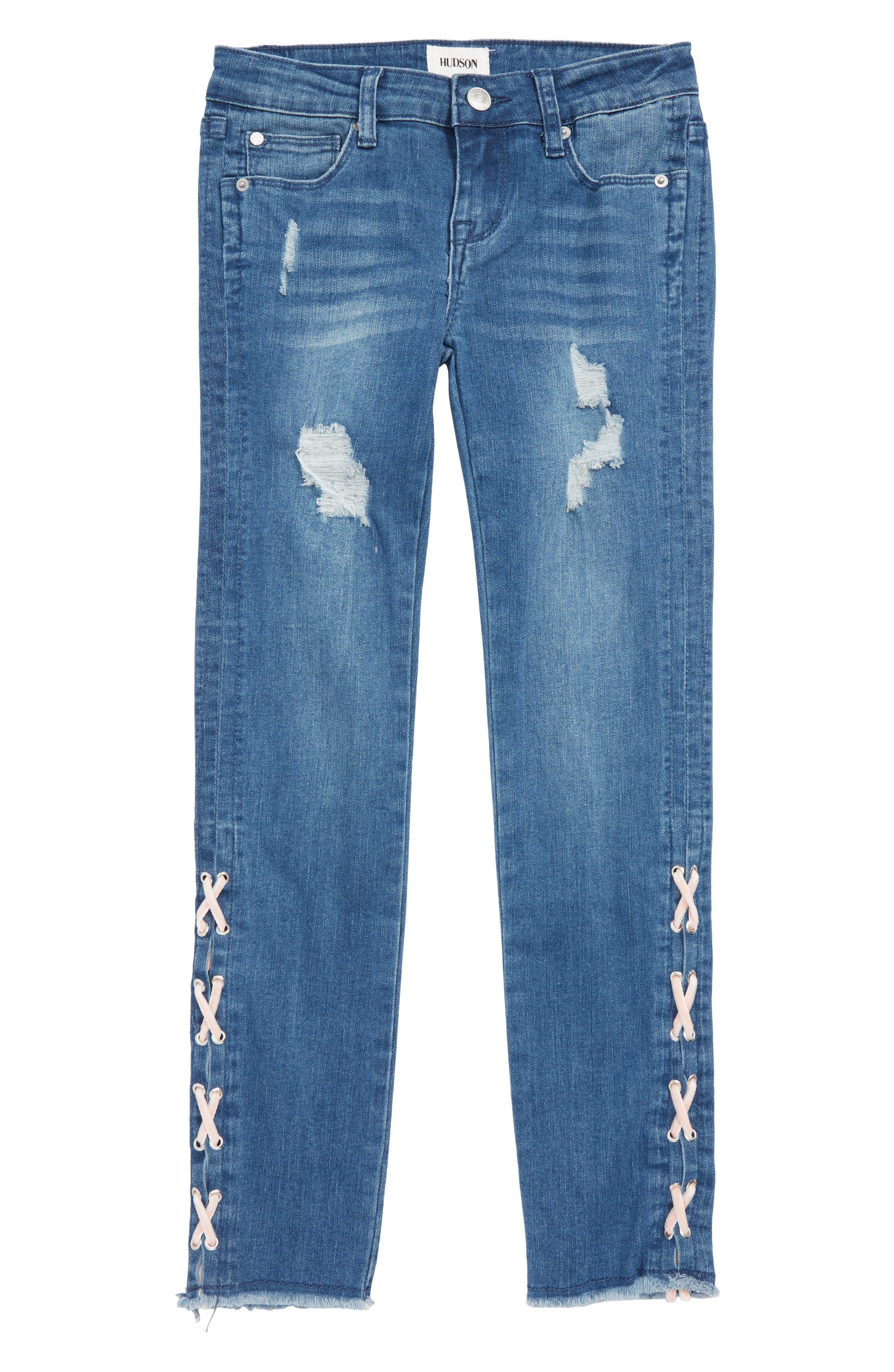 Etta Lace Up Ankle Crop Jeans,                             Main thumbnail 1, color,                             483